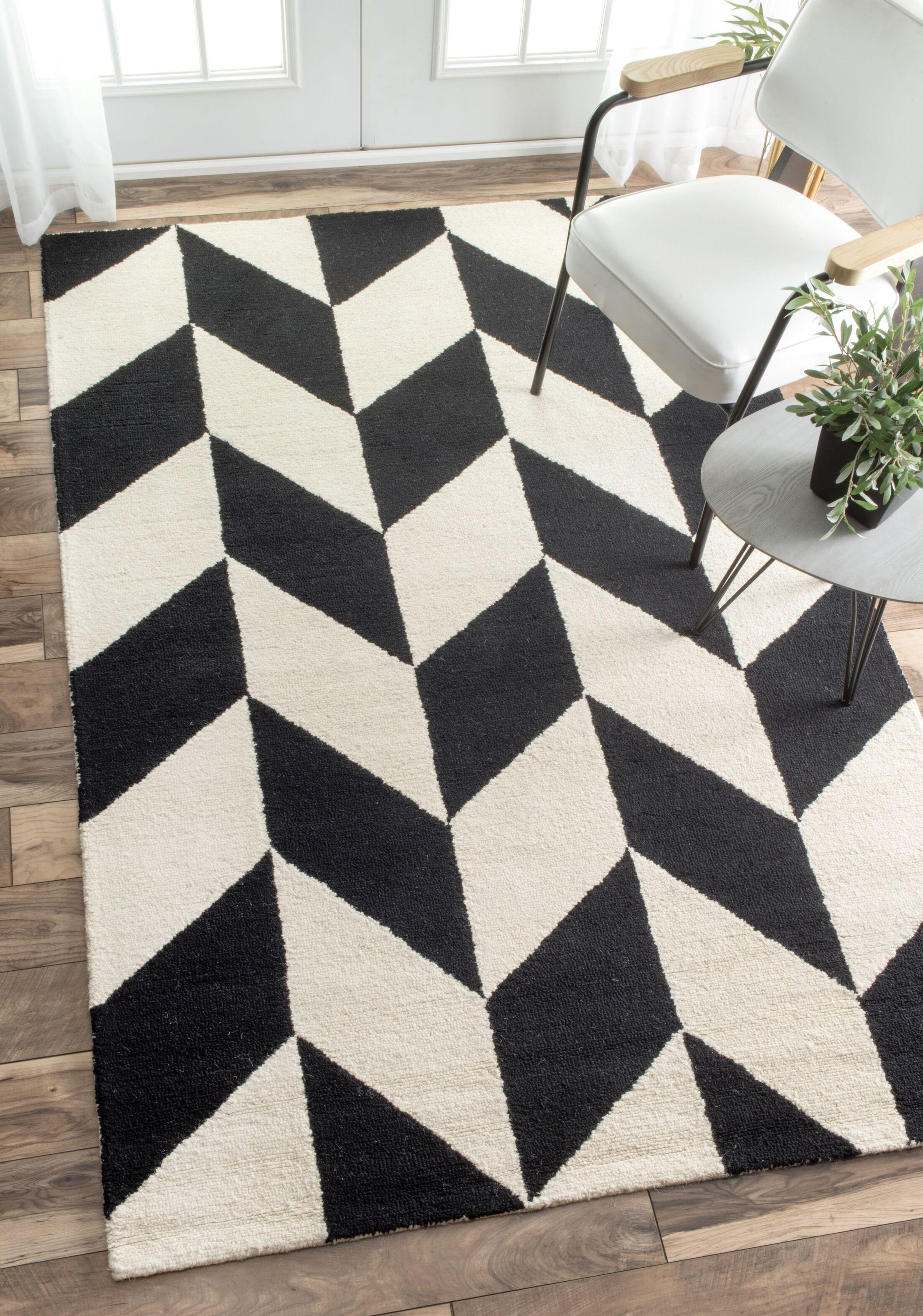 Rummel Hand-Tufted Black/White Indoor Area Rug Rug Size: Rectangle 8' 6