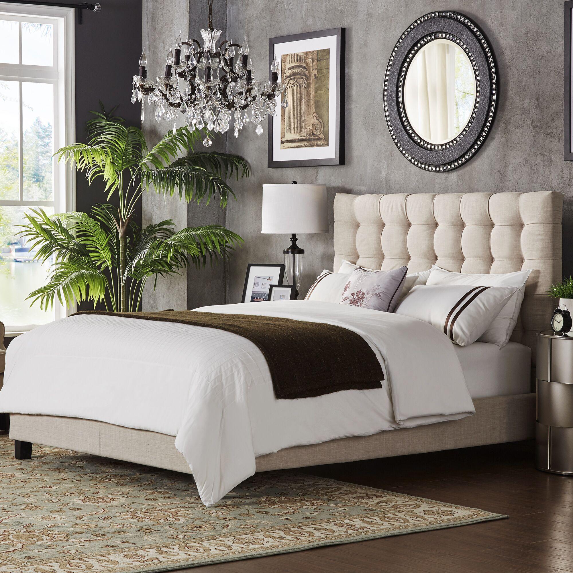 Bourdon Upholstered Panel Bed Upholstery Color: Beige, Size: Full