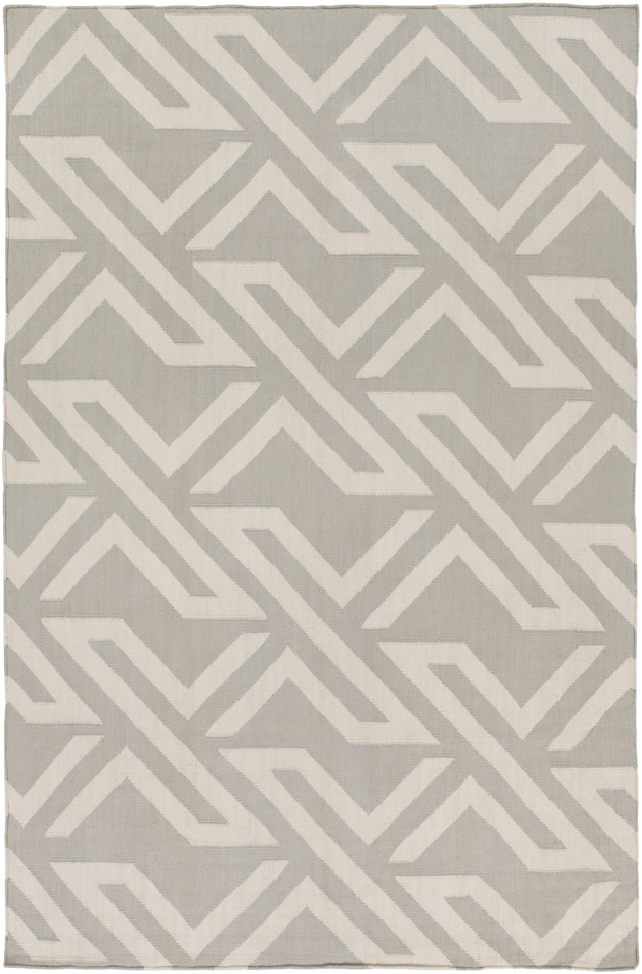 Breece Light Gray/Ivory Area Rug Rug Size: Rectangle 8' x 10'