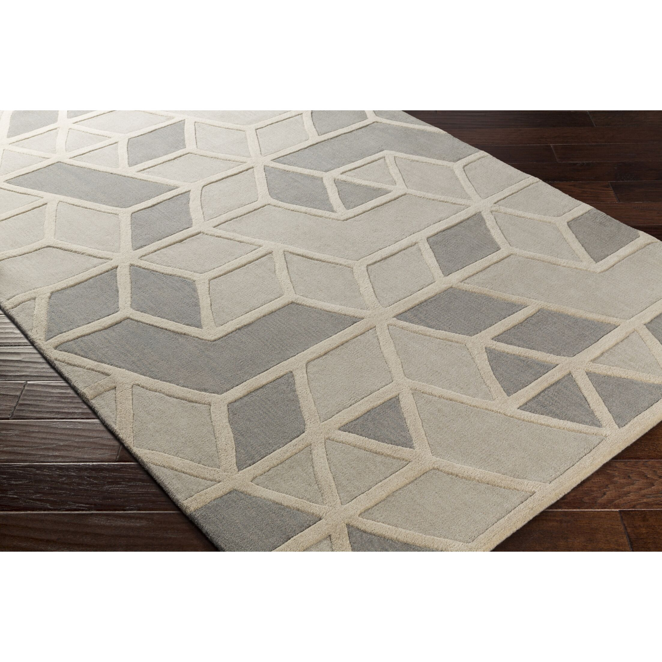 Vaughan Hand-Tufted Rectangle Gray Wool Area Rug Rug Size: Rectangle 5' x 8'