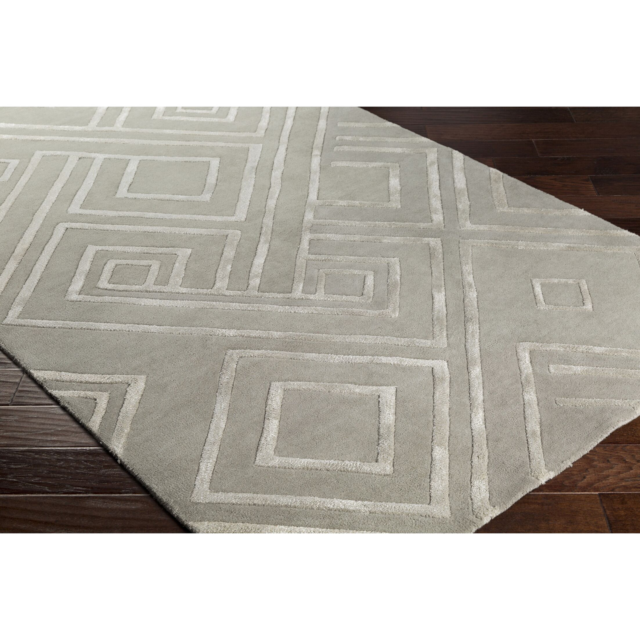 Vazquez Hand-Tufted Geometric Gray Area Rug Rug Size: Rectangle 5' x 7'6