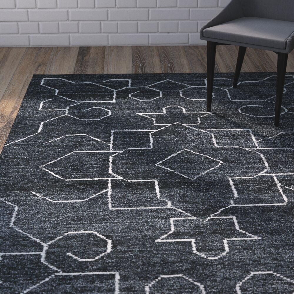 Aracely Hand Woven Charcoal/Ivory Area Rug Rug Size: Rectangle 4' x 6'