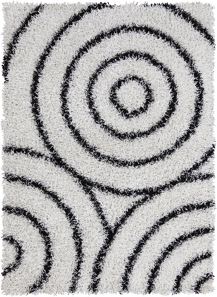 Deborah White/Black Area Rug Rug Size: 5' x 7'