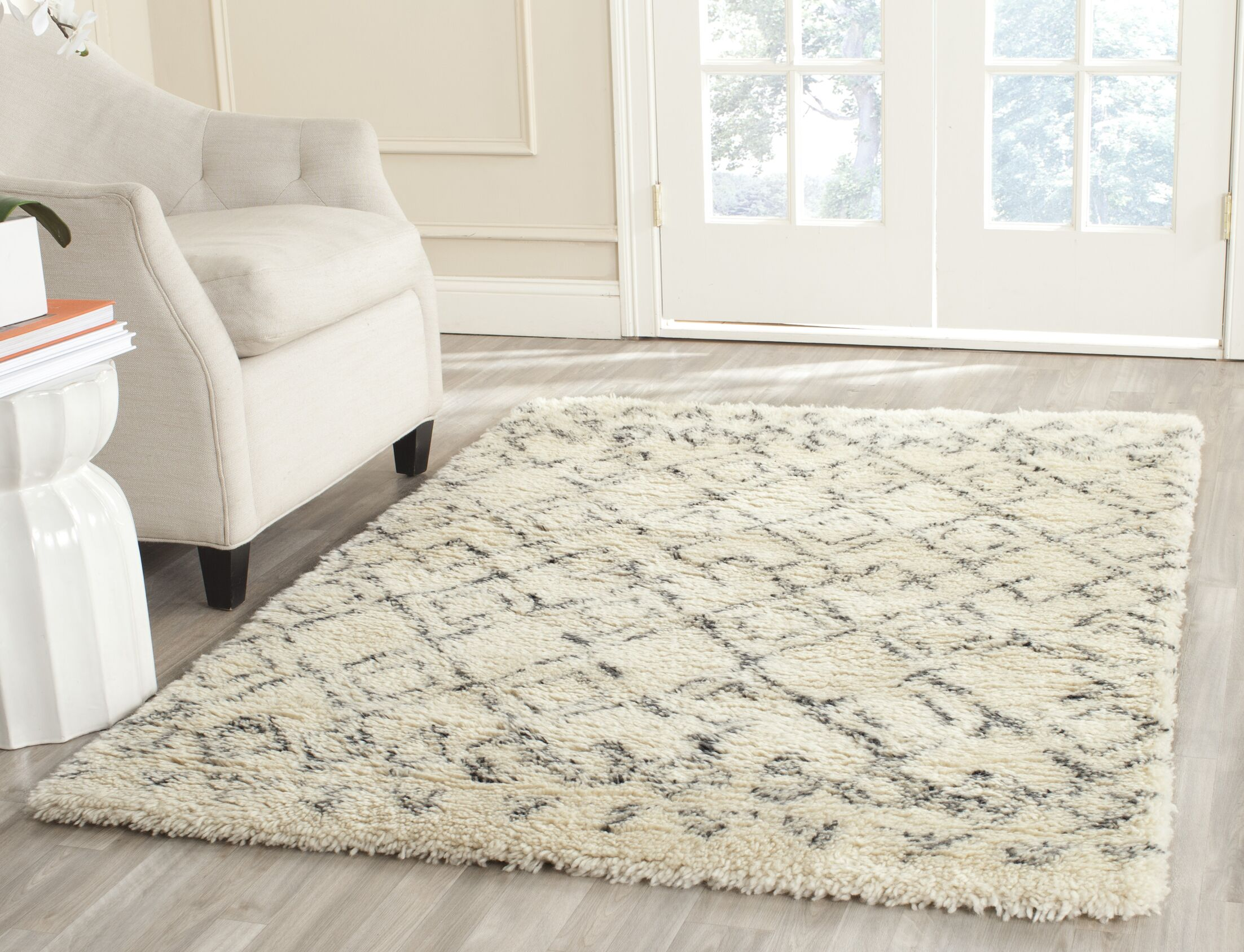 Gholston White/Grey Area Rug Rug Size: Rectangle 4' x 6'