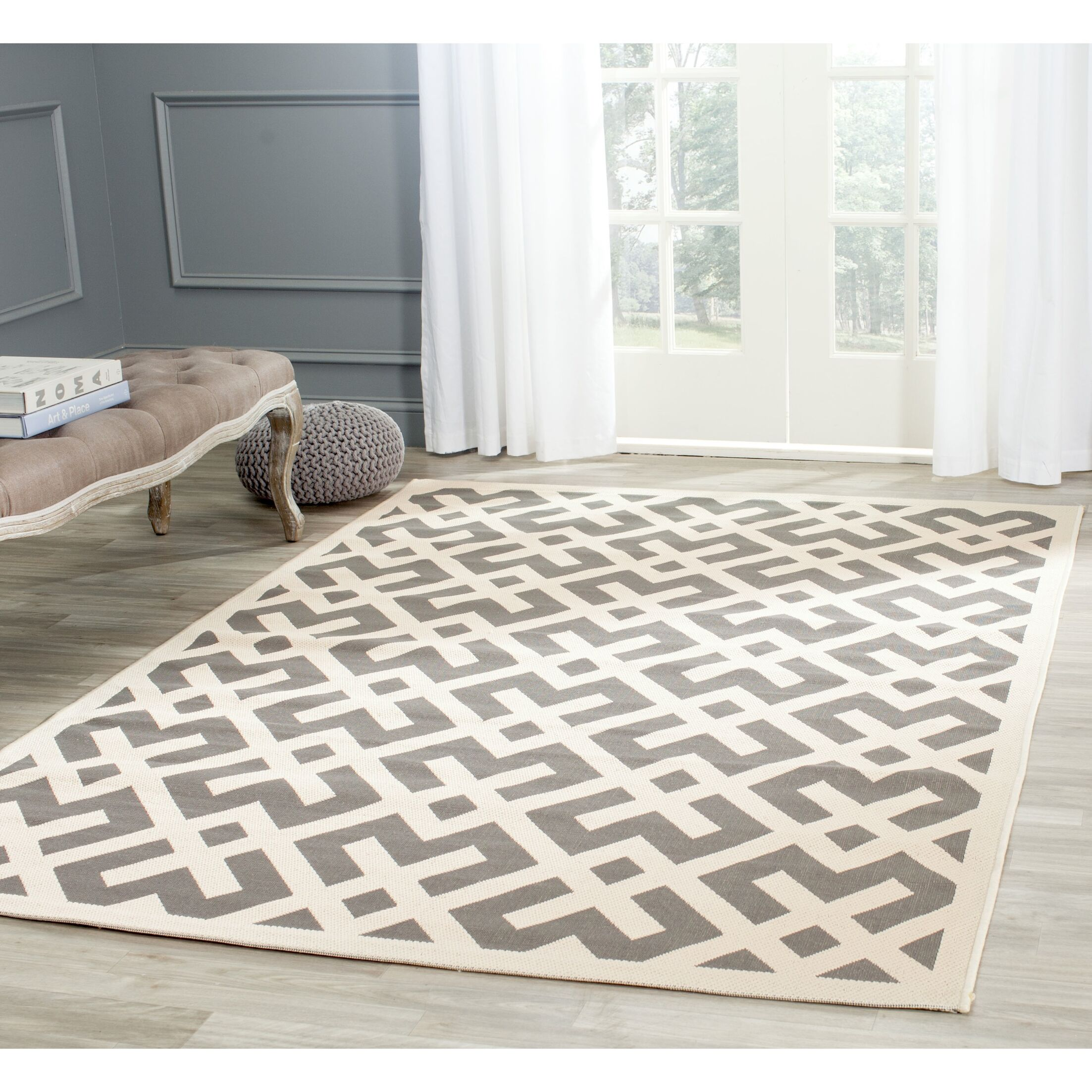 Mirabelle Gray/Bone Indoor/Outdoor Area Rug Rug Size: Square 7'10