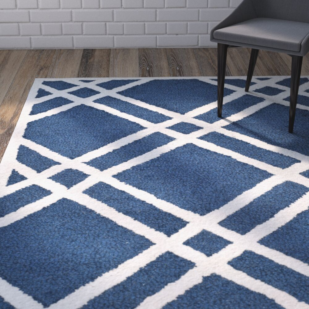 Martins Hand-Tufted Wool Navy Blue/Ivory Area Rug Rug Size: Rectangle 5' x 8'