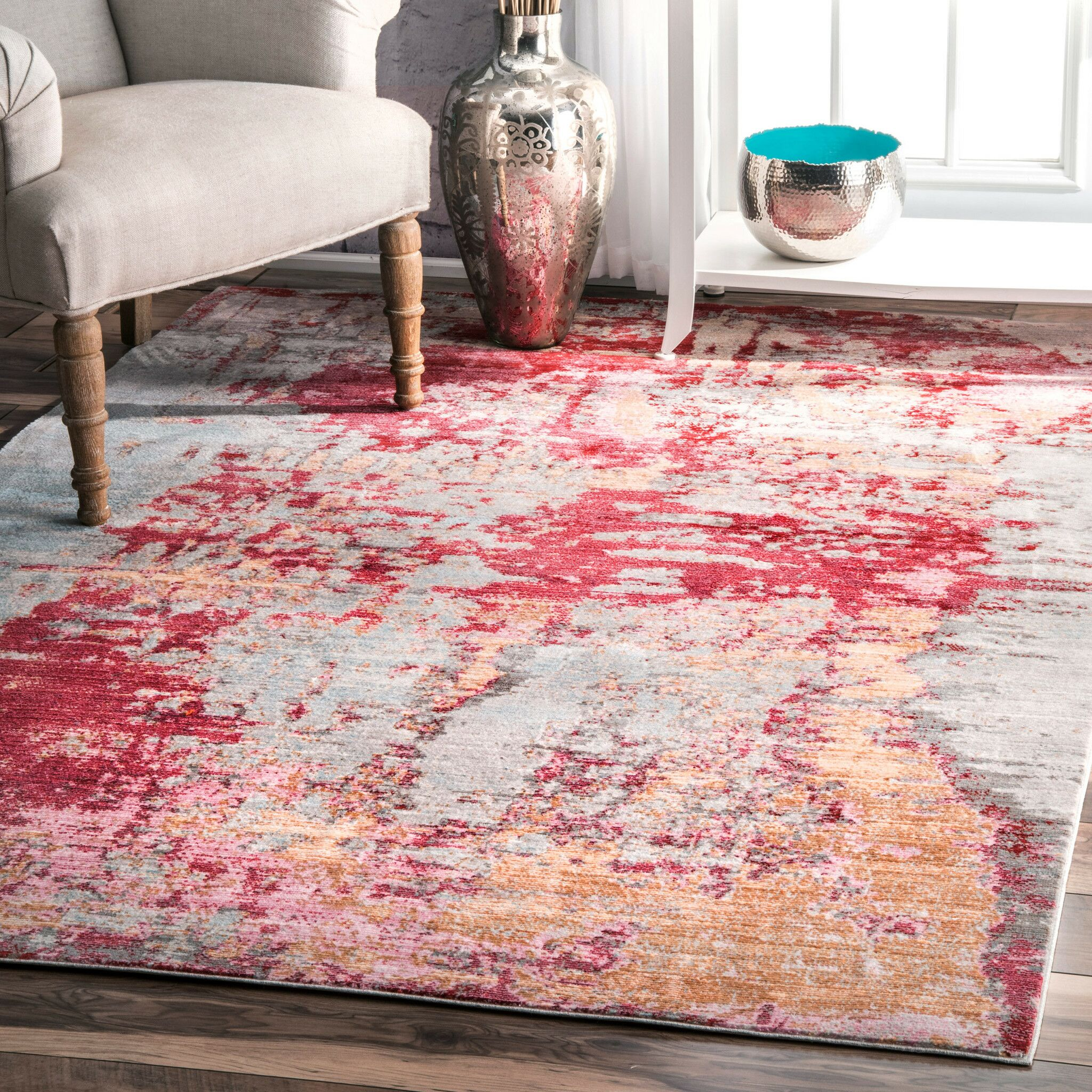 Daye Red Area Rug Rug Size: Rectangle 7'10