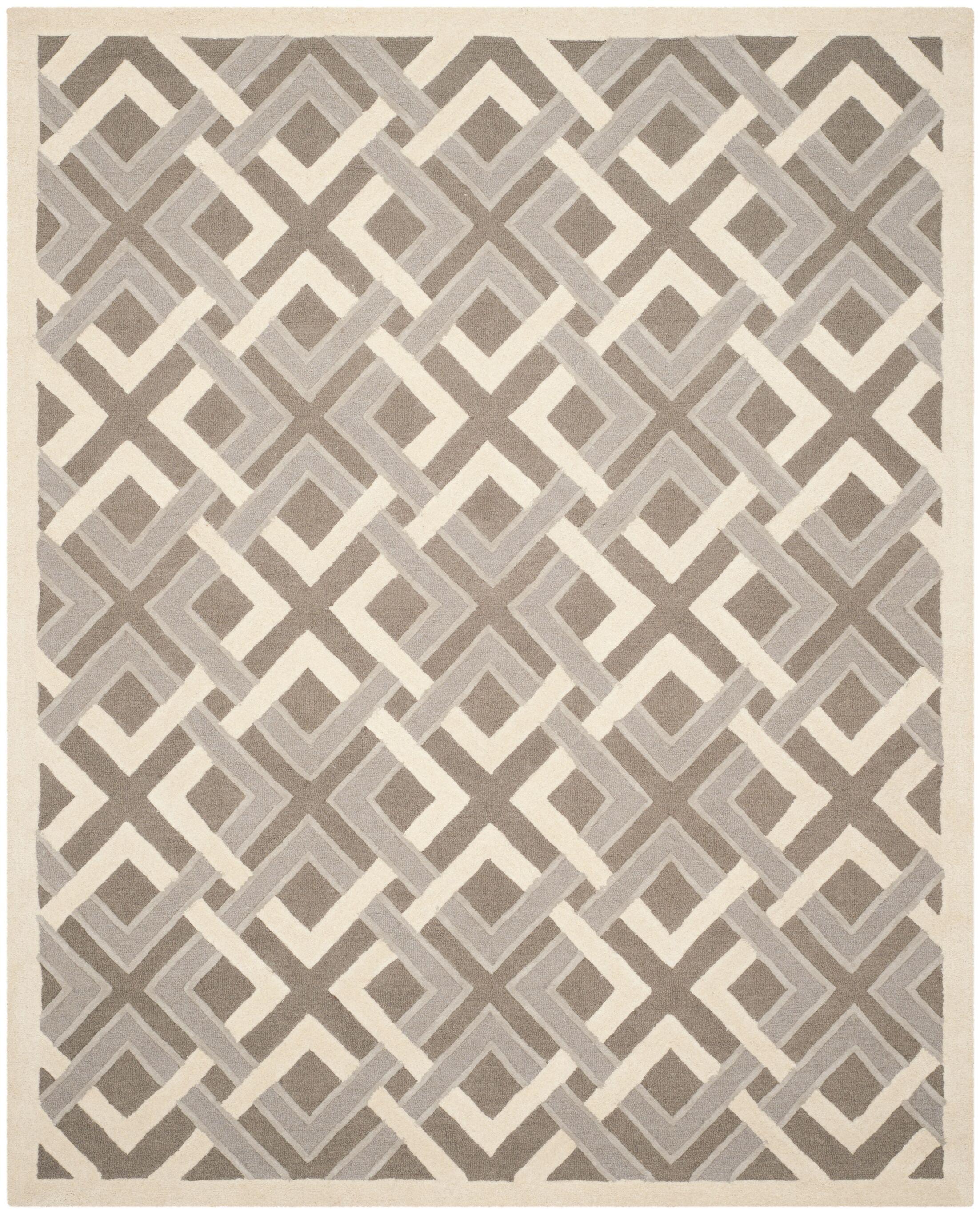 Lattice Hand-Tufted Taupe/Ivory Area Rug Rug Size: Rectangle 8' x 10'