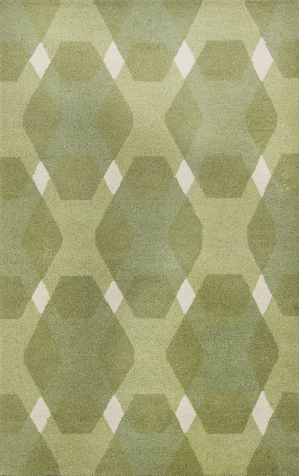 Diamond Hand-Loomed Green/White Area Rug Rug Size: Rectangle 4' x 6'