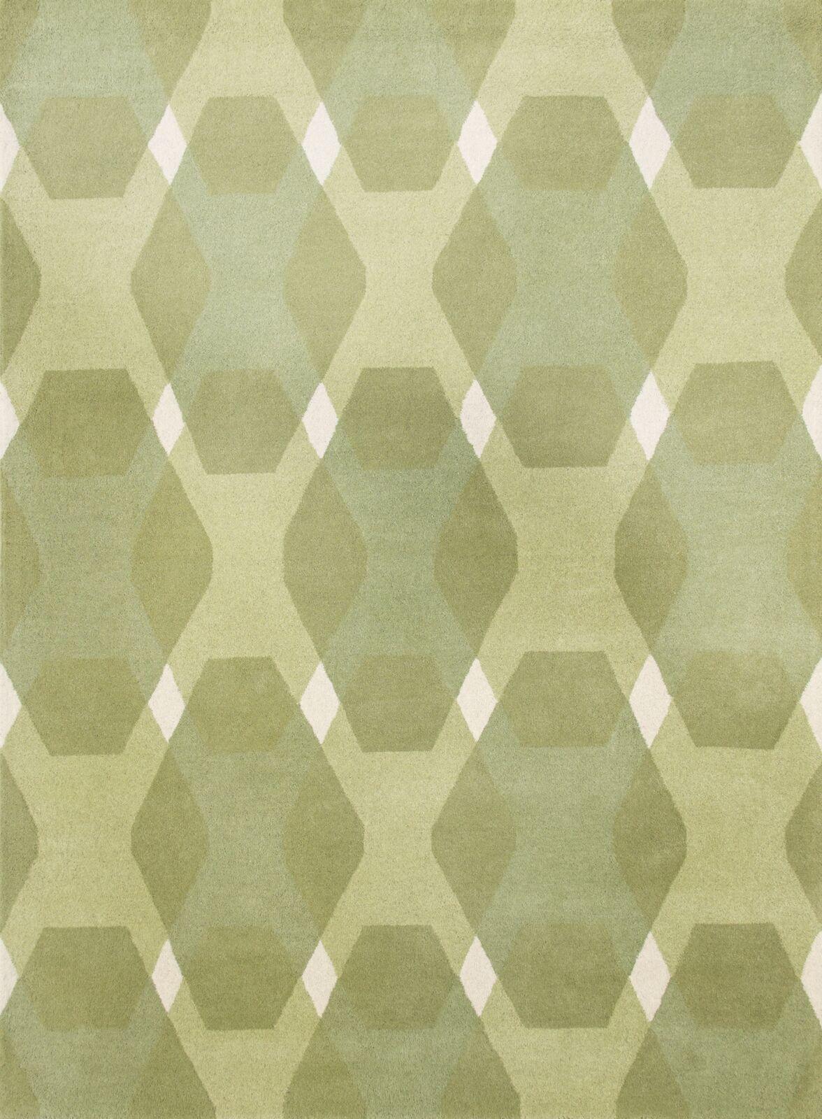 Diamond Hand-Loomed Green/White Area Rug Rug Size: Rectangle 9' x 12'