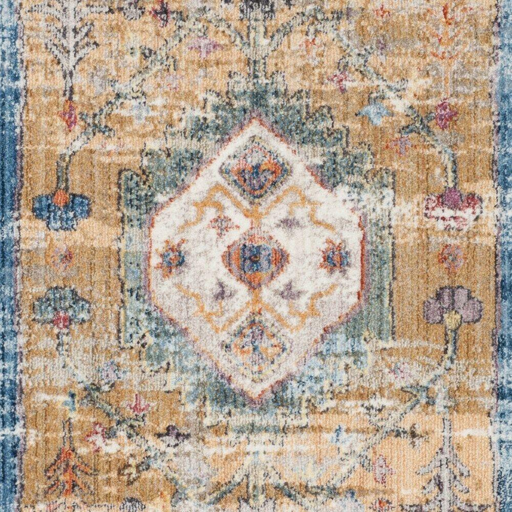Devon Blue/Camel Area Rug Rug Size: Rectangle 4' x 6'