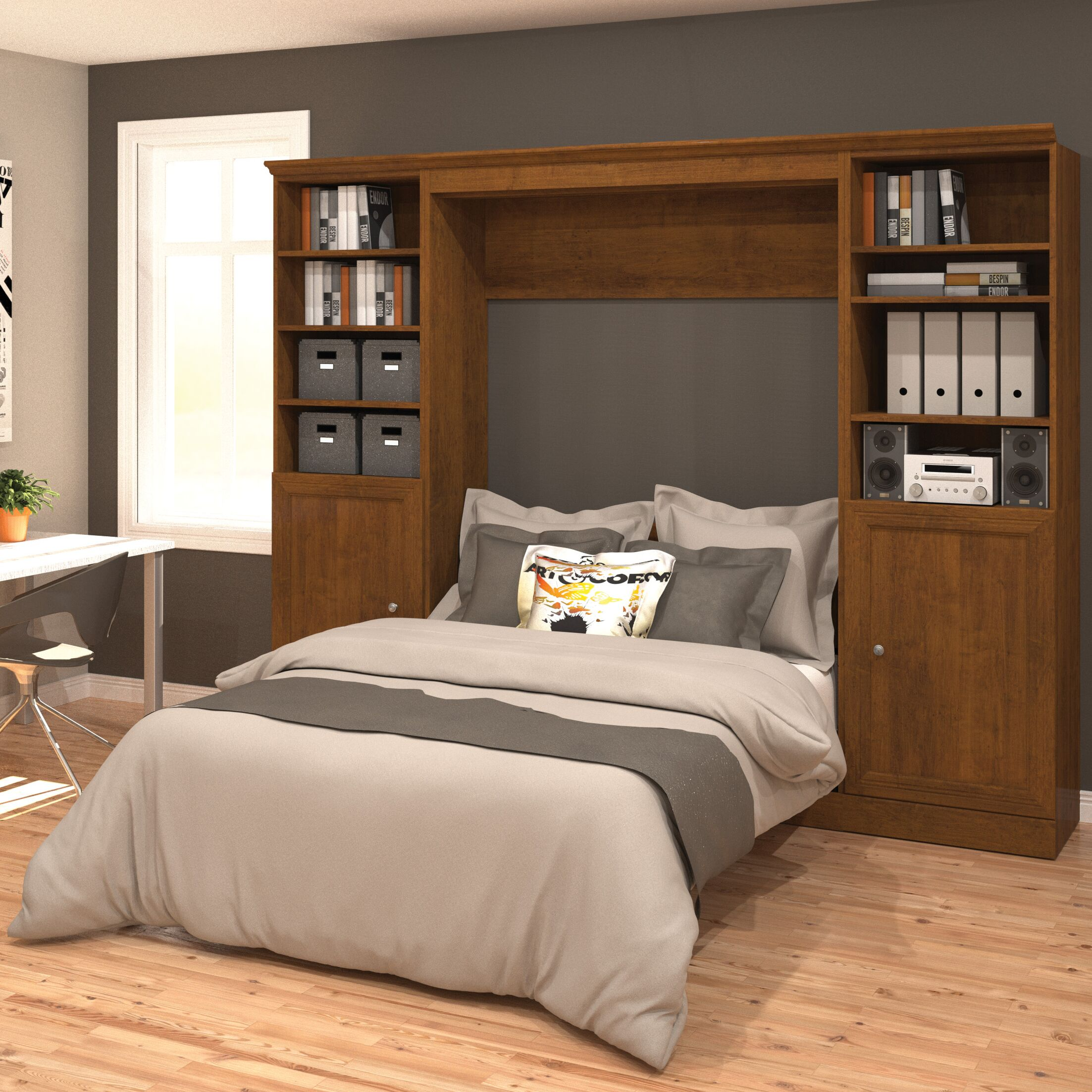 Acevedo Storage Full/Double Murphy Bed Color: Chocolate