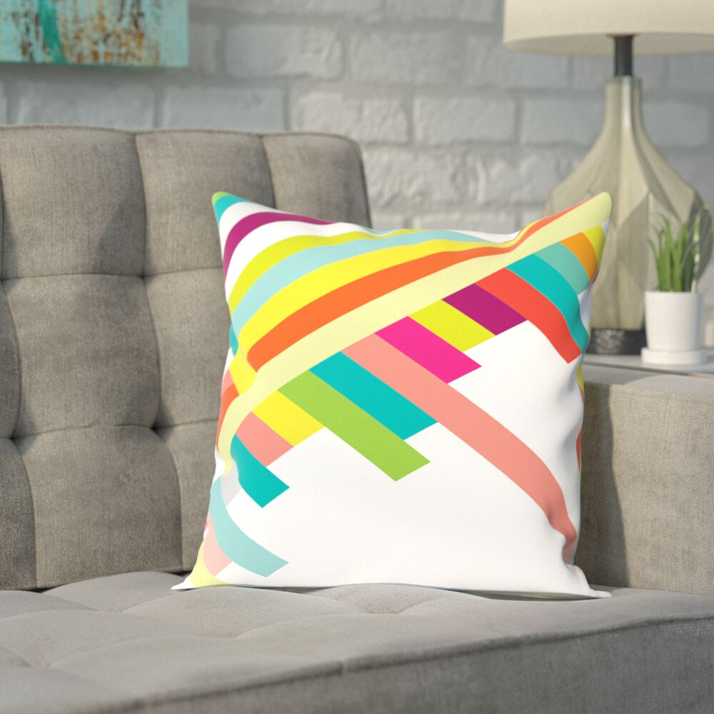 Eaves Spring Geometry Poster Outdoor Throw Pillow Size: 18