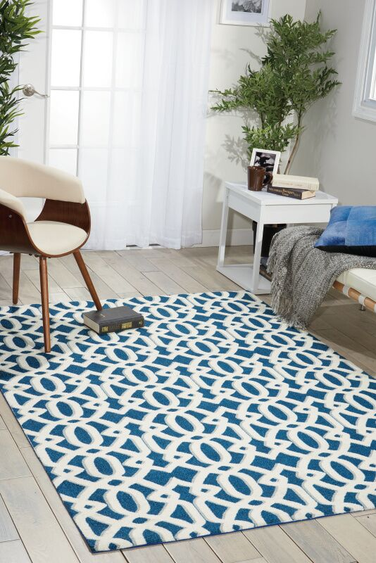 Tabris Navy/White Area Rug Rug Size: Rectangle 4' x 6'