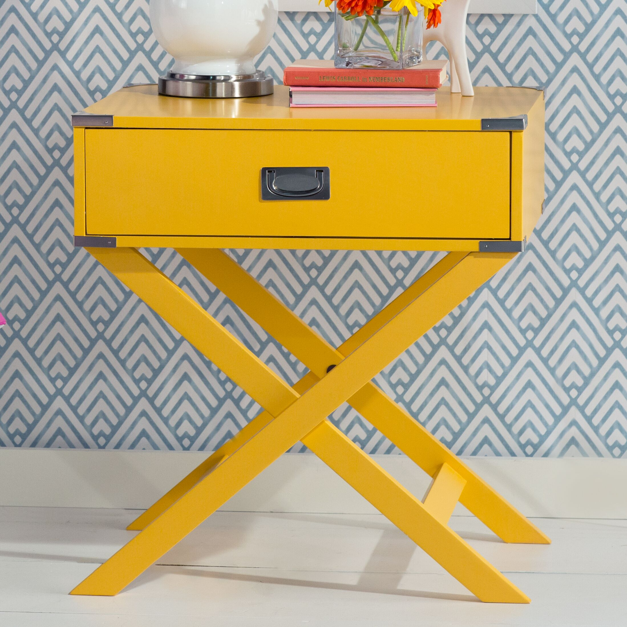 Marotta 1 Drawer End Table Color: Yellow