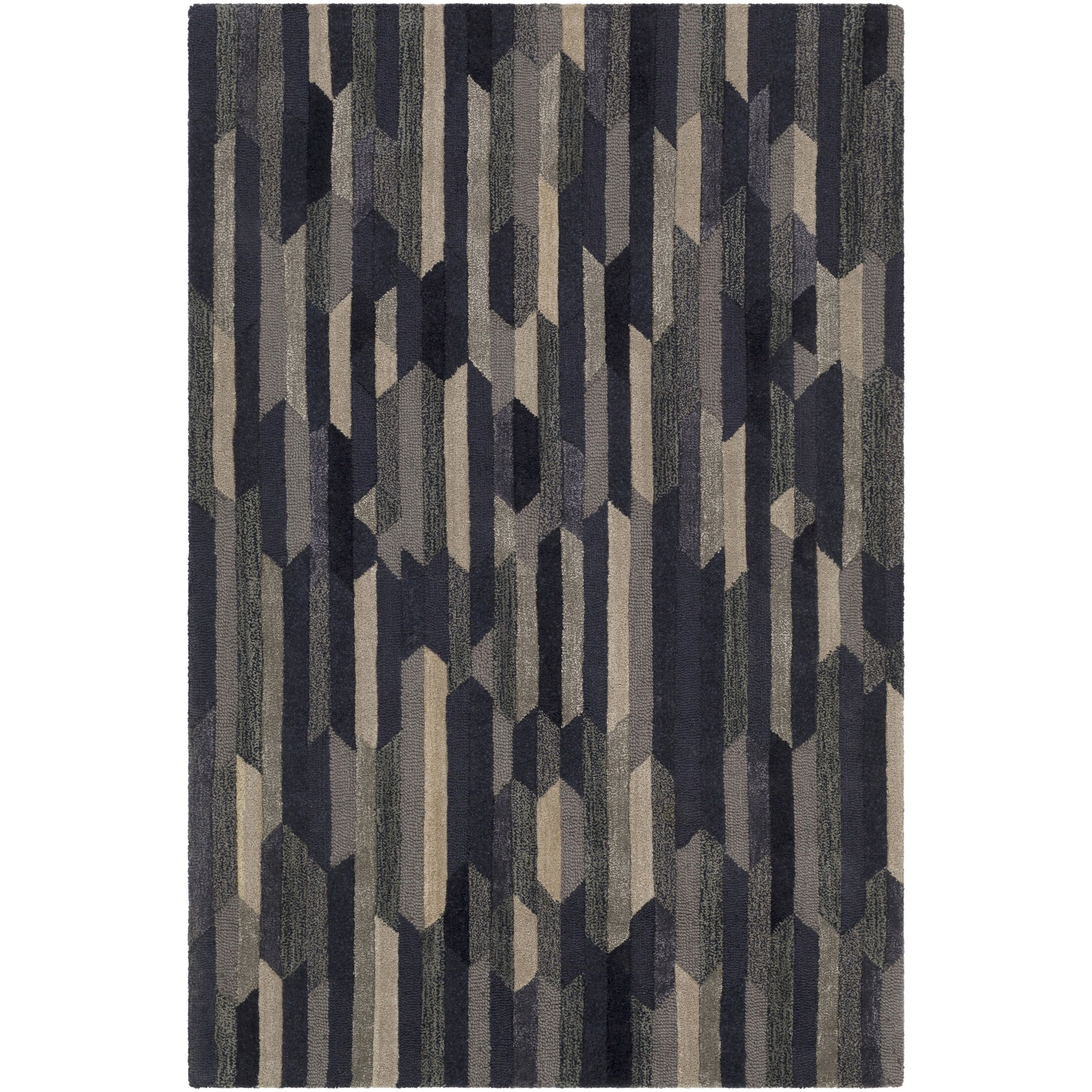 Borel Hand-Tufted Navy/Tan Area Rug Rug Size: Rectangle 9' x 13'