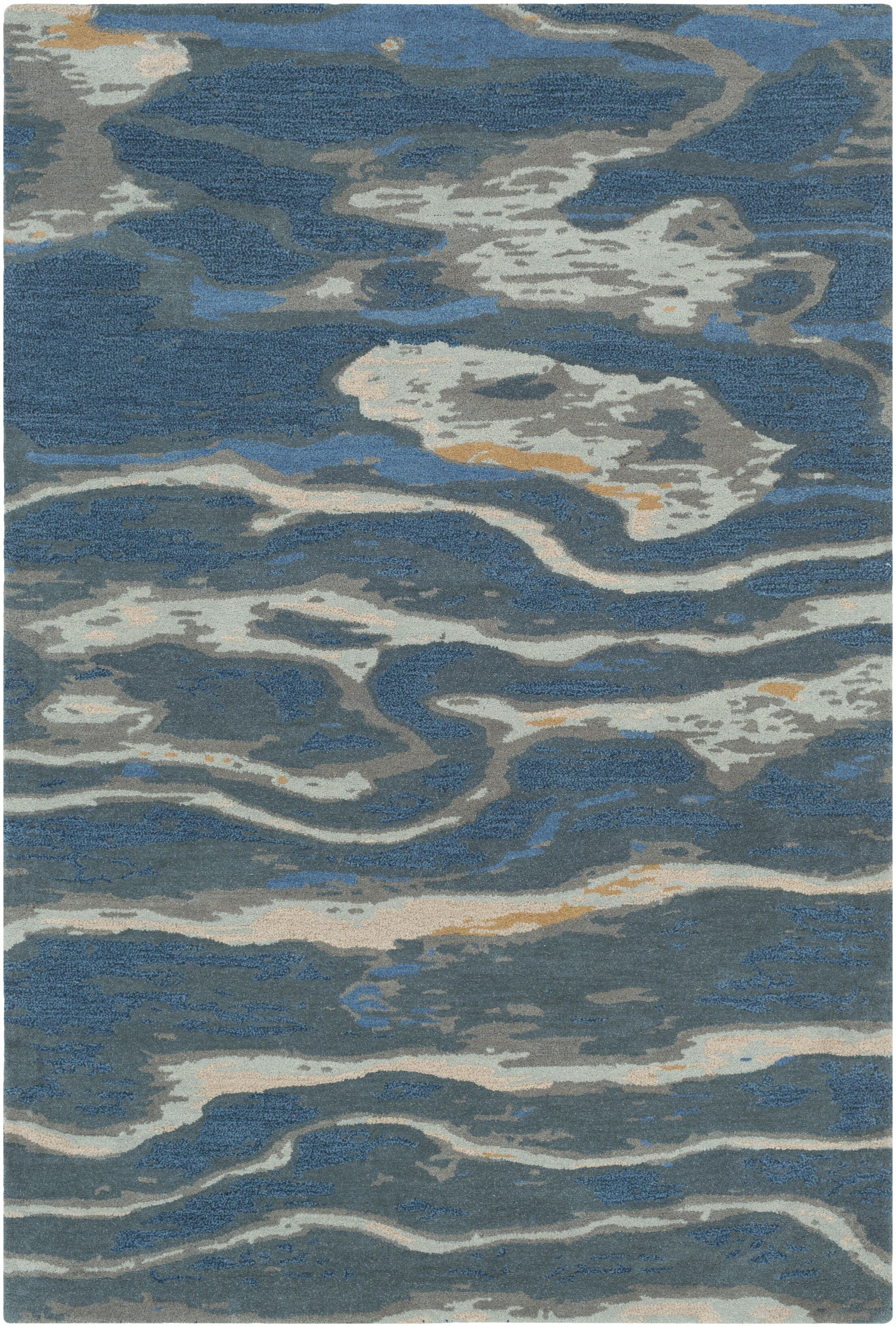 Borges Hand-Tufted Navy/Sea Foam Area Rug Rug Size: Runner 2'6