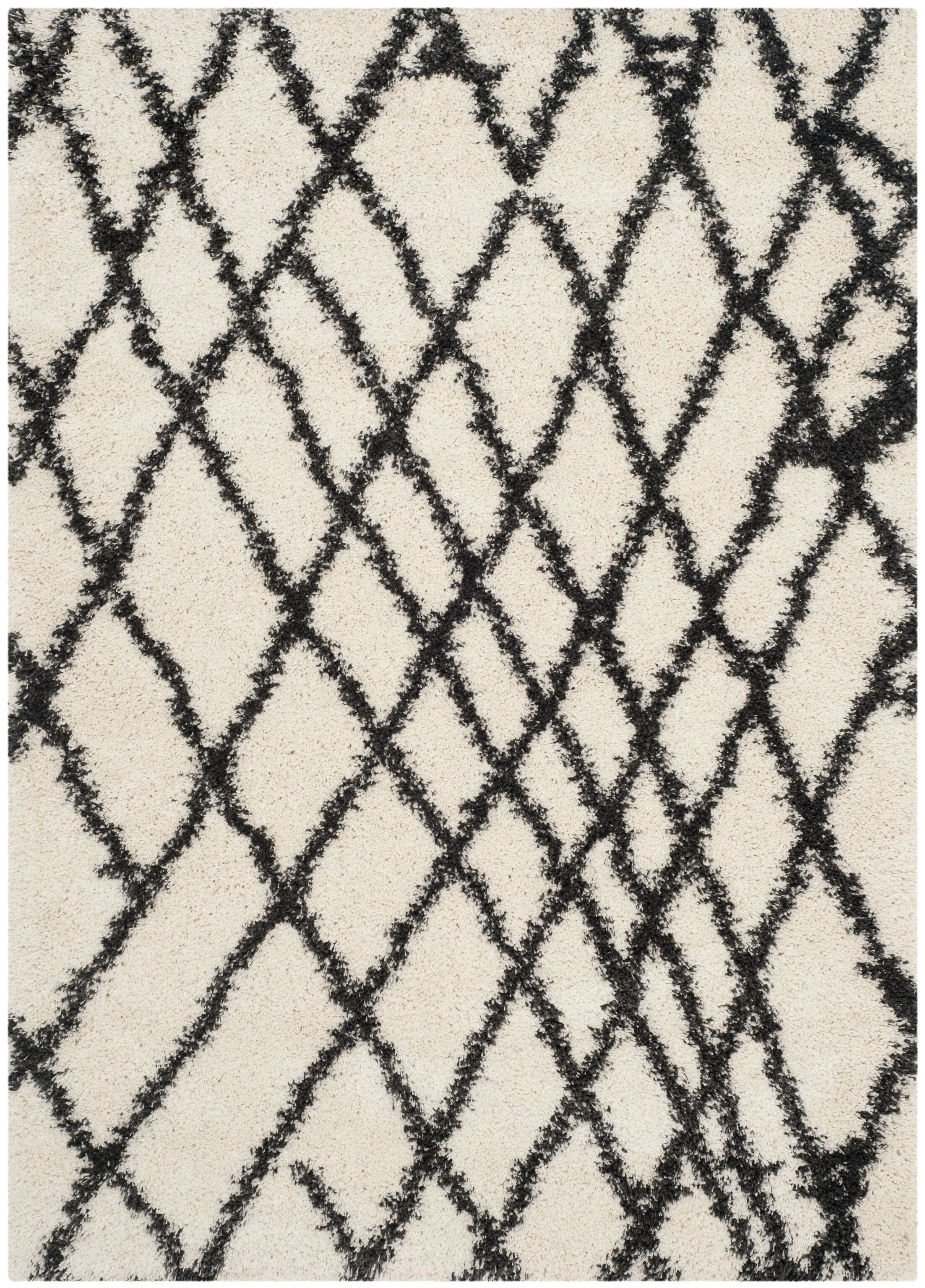 Malibu Ivory/Charcoal Area Rug Rug Size: Rectangle 5'1