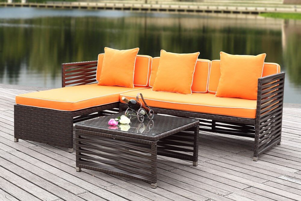 Eulalia 3 Piece Sectional Set with Cushions Color / Upholstery: Brown / Orange
