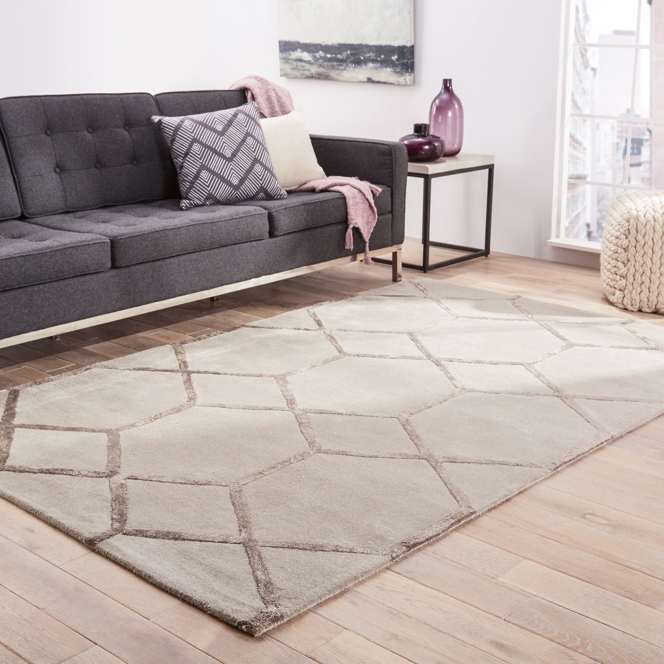 Amado Hand-Tufted Silk Beige Area Rug Rug Size: Rectangle 5' x 8'