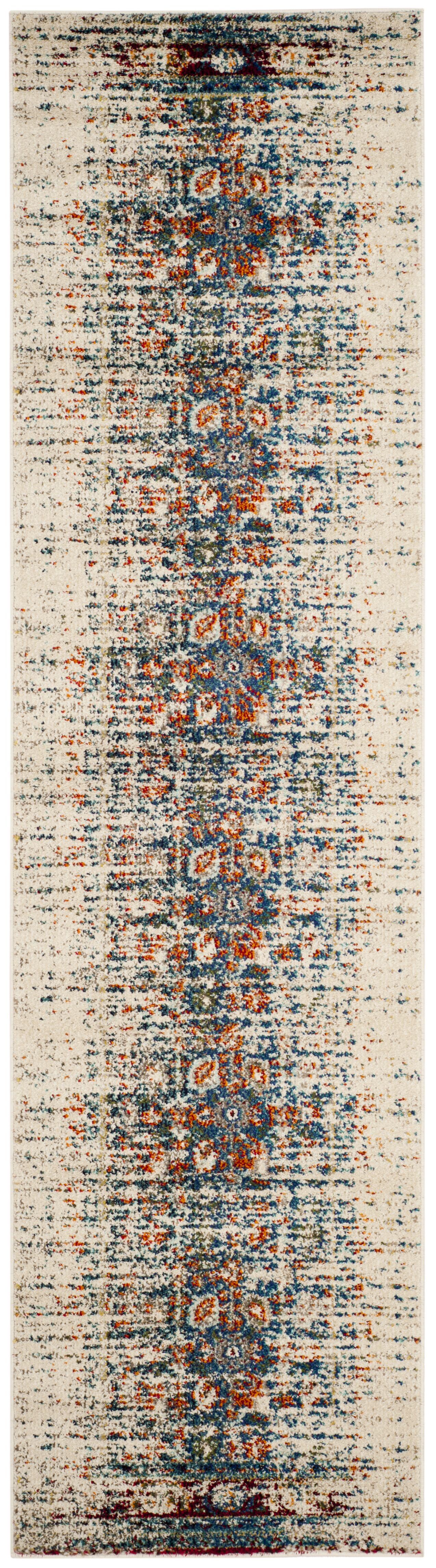 Sylvia Ivory/Blue Area Rug Rug Size: Runner 2'2