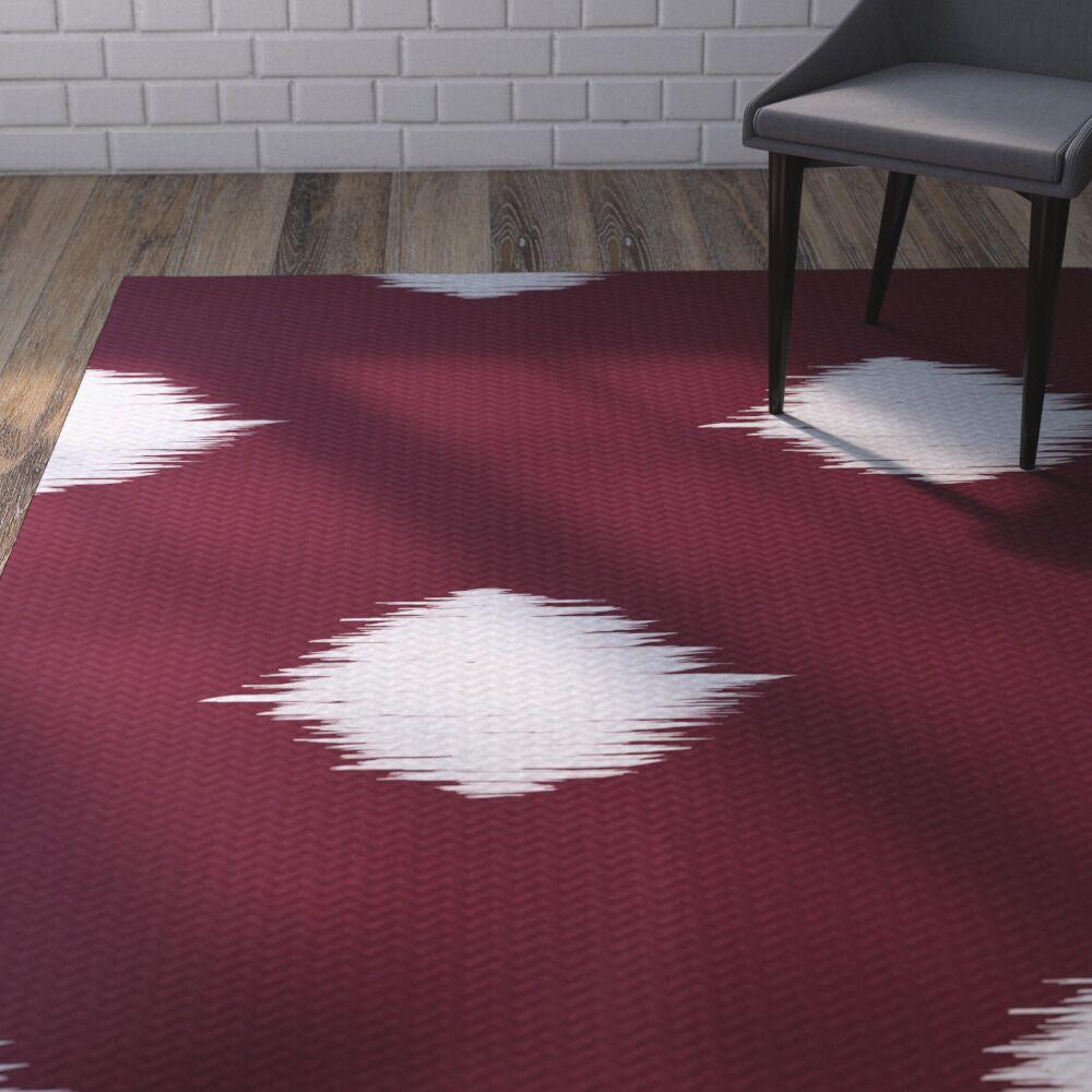 Urbina Decorative Holiday Ikat Print Cranberry Burgundy Indoor/Outdoor Area Rug Rug Size: Rectangle 3' x 5'