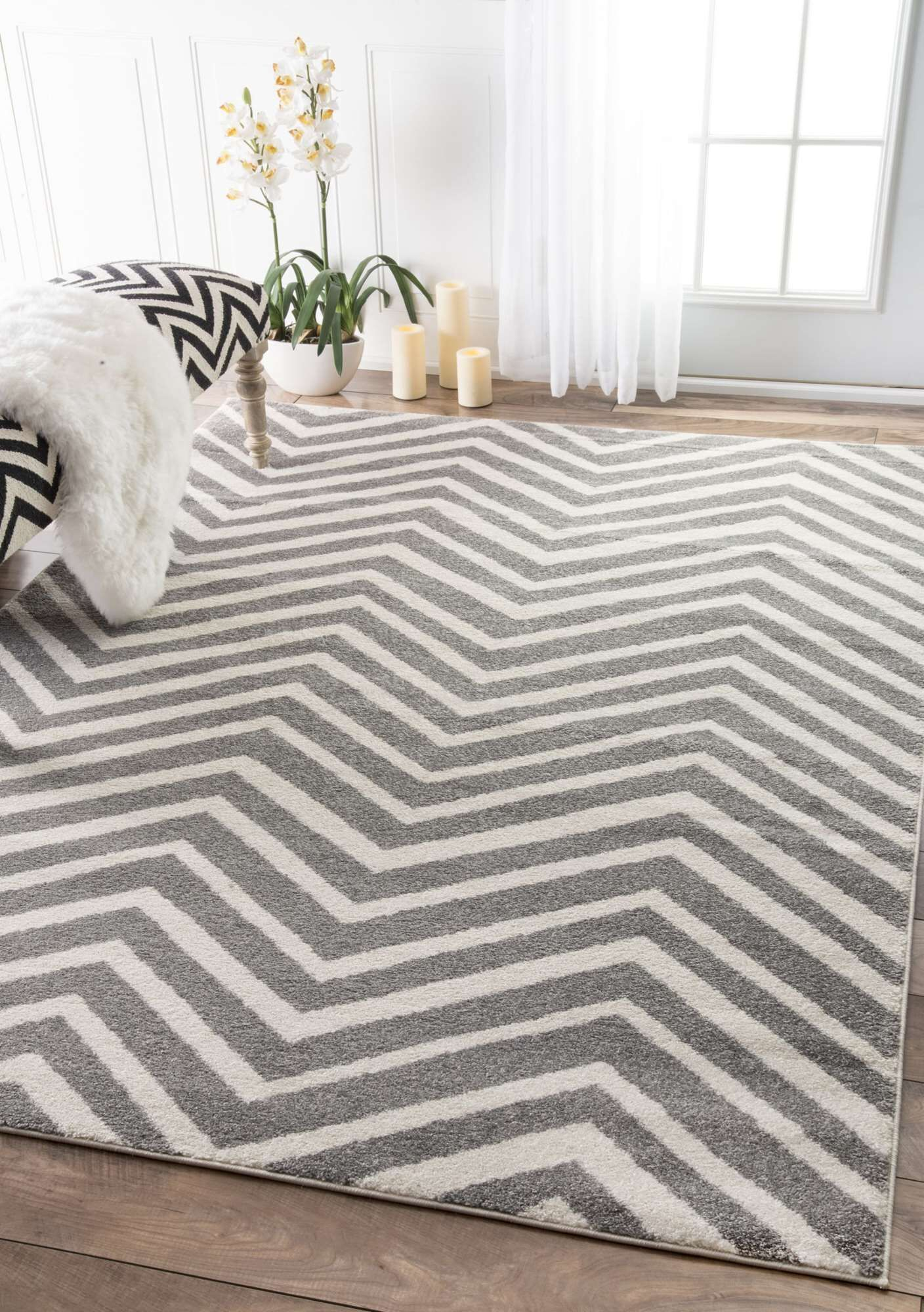 Nolting Gray/White Area Rug Rug Size: Rectangle 7'10