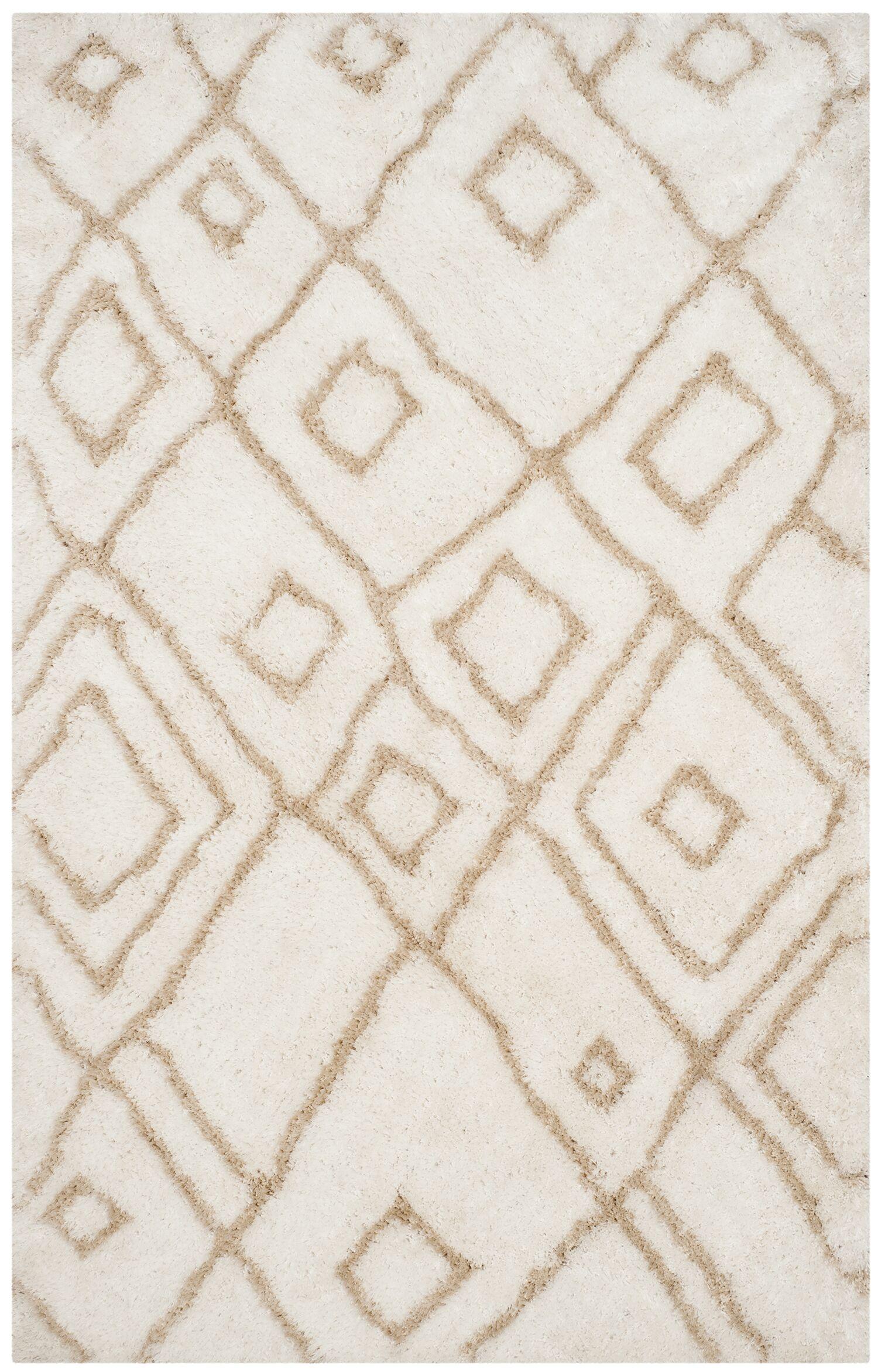 Briganti Hand-Tufted Ivory/Beige Area Rug Rug Size: Rectangle 5' x 8'