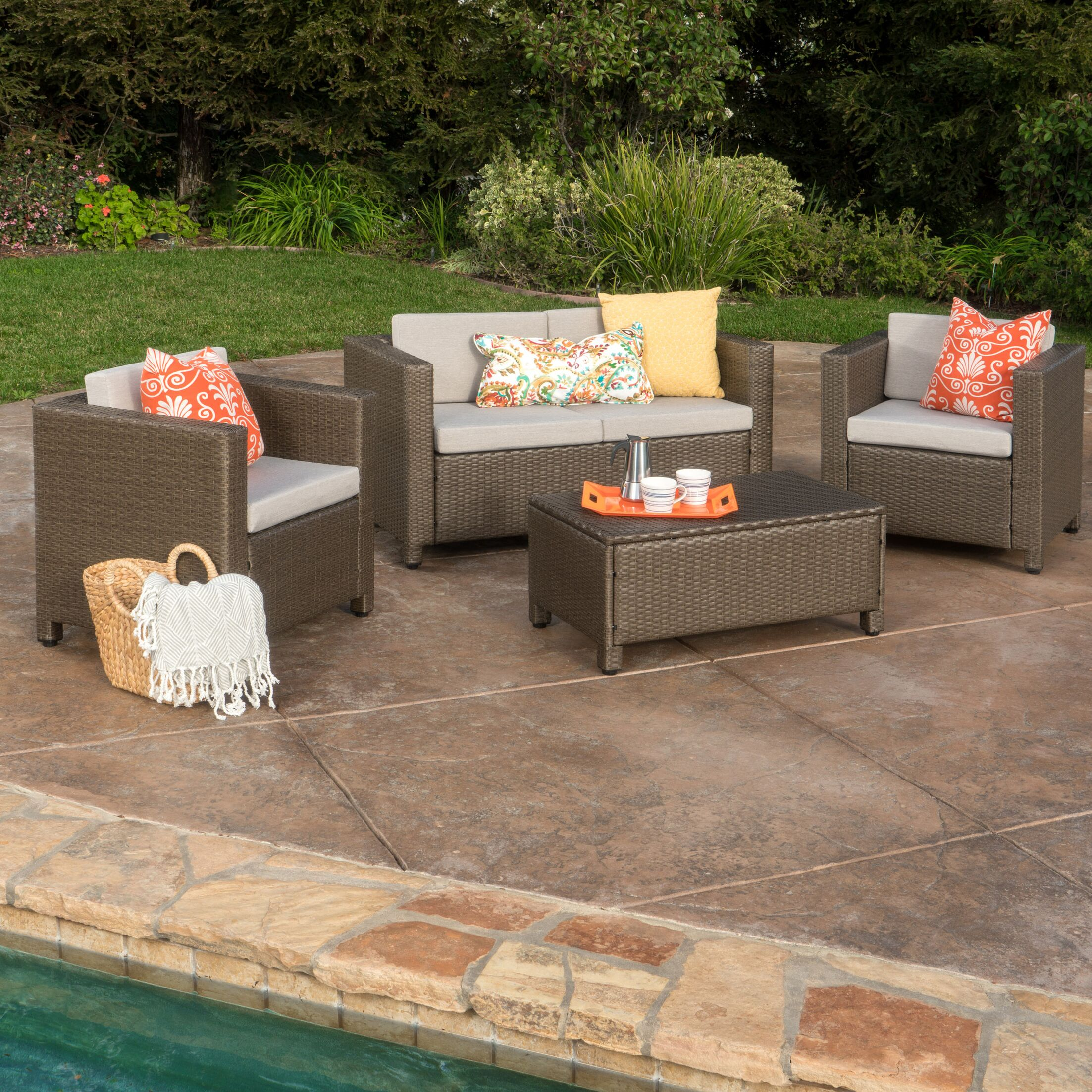Kappa 4 Piece Rattan Sofa Set with Cushions Color: Light Brown
