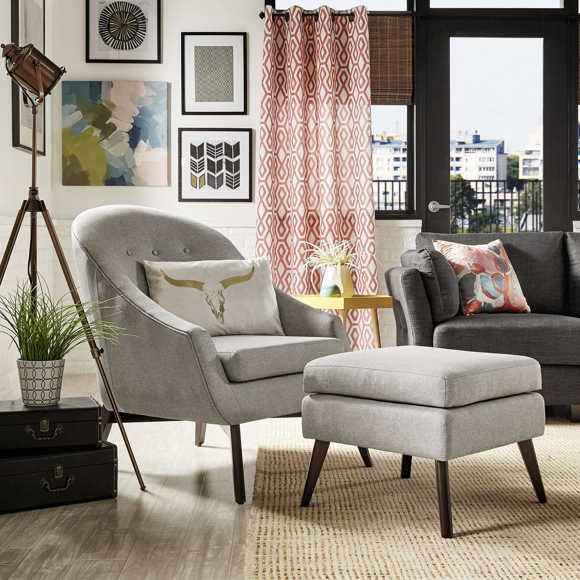 Mu Armchair and Ottoman Upholstery: Gray