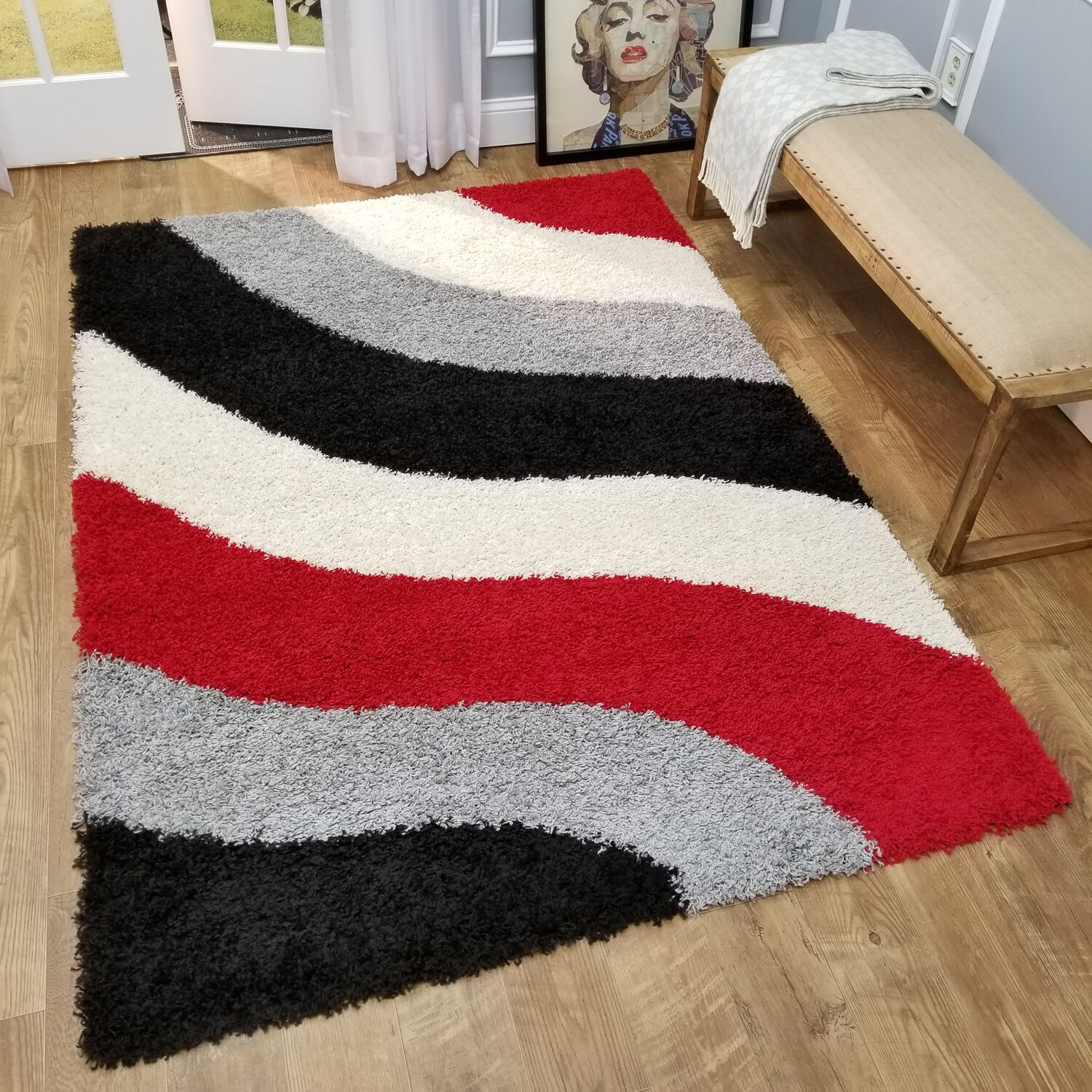Burns Block Striped Waves Contemporary Shag Area Rug Rug Size: 6'7
