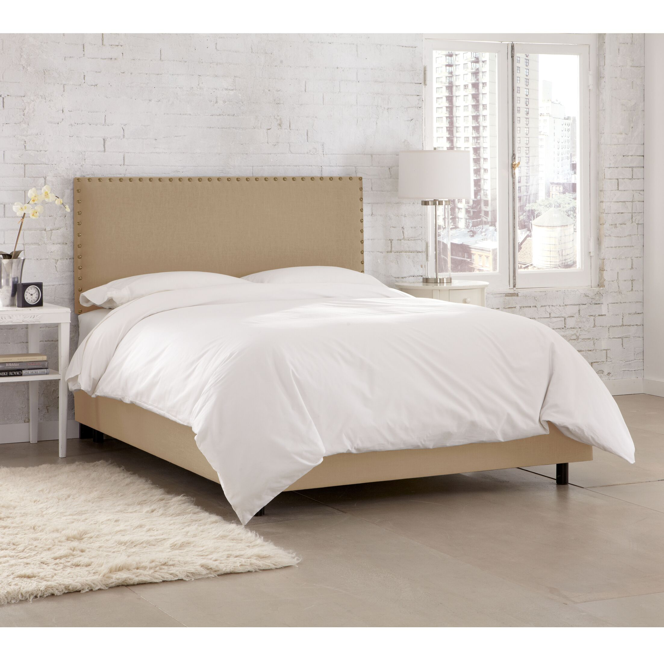 Kovach Upholstered Panel Bed with Mattress Size: Full, Color: Linen - Sandstone