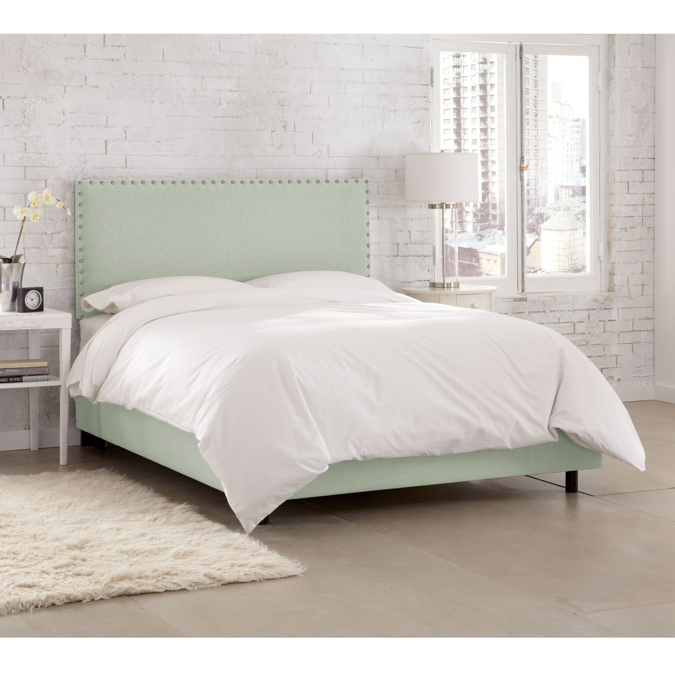 Kovach Upholstered Panel Bed with Mattress Size: California King, Color: Linen Swedish Blue