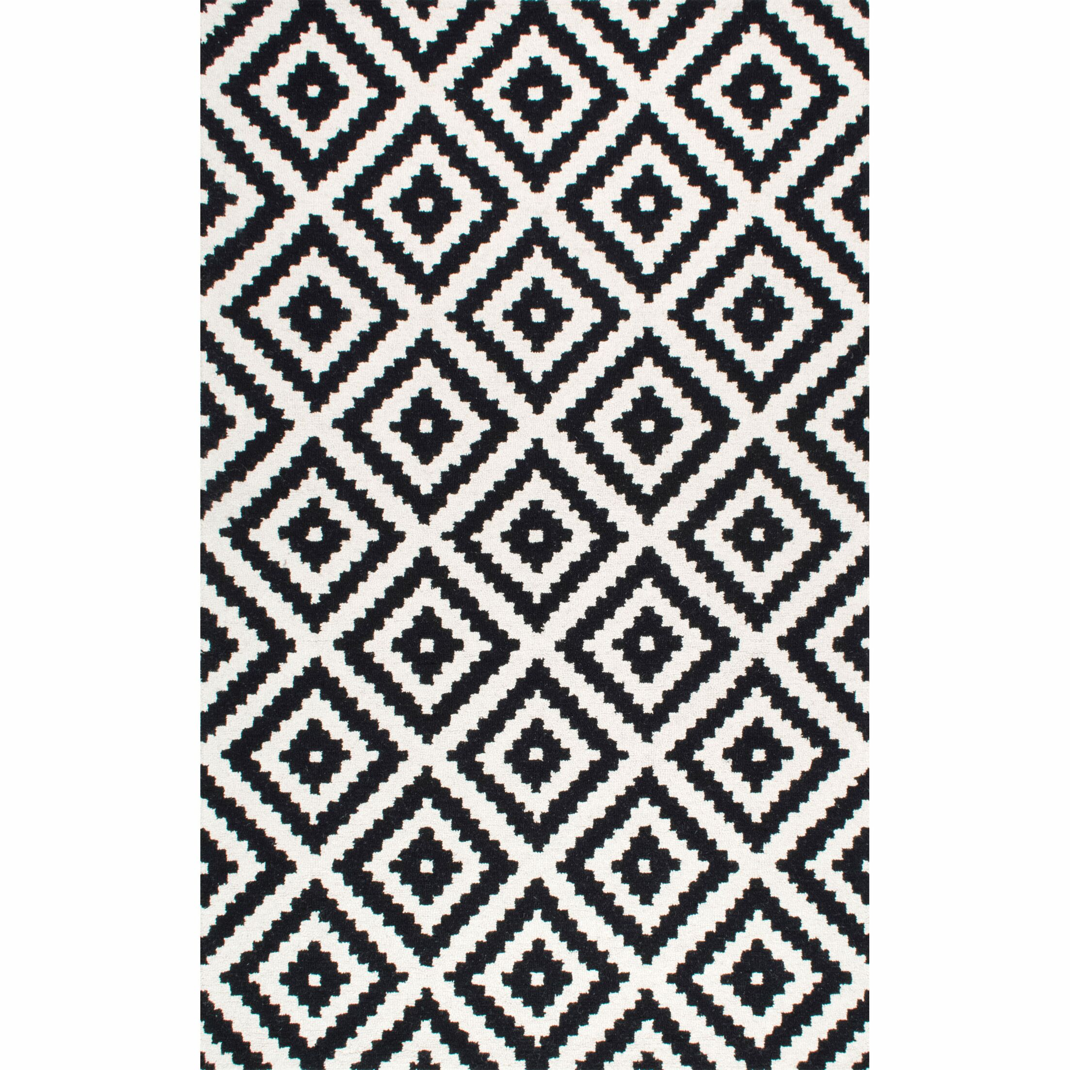 Obadiah Hand-Tufted Wool Black Area Rug Rug Size: Square 8'