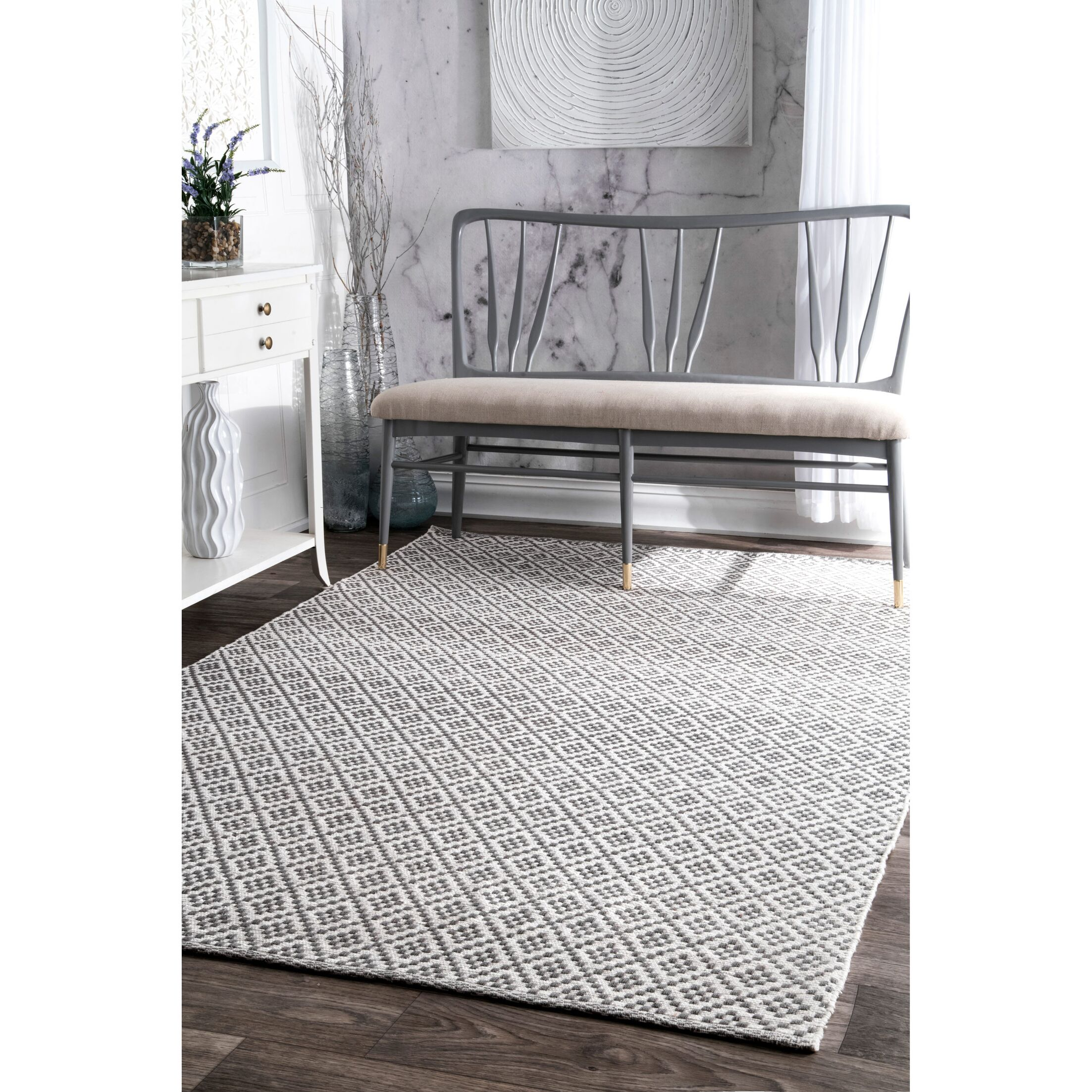 Malbrough Hand-Woven Cotton Beige/Ivory Area Rug Rug Size: Rectangle 4' x 6'