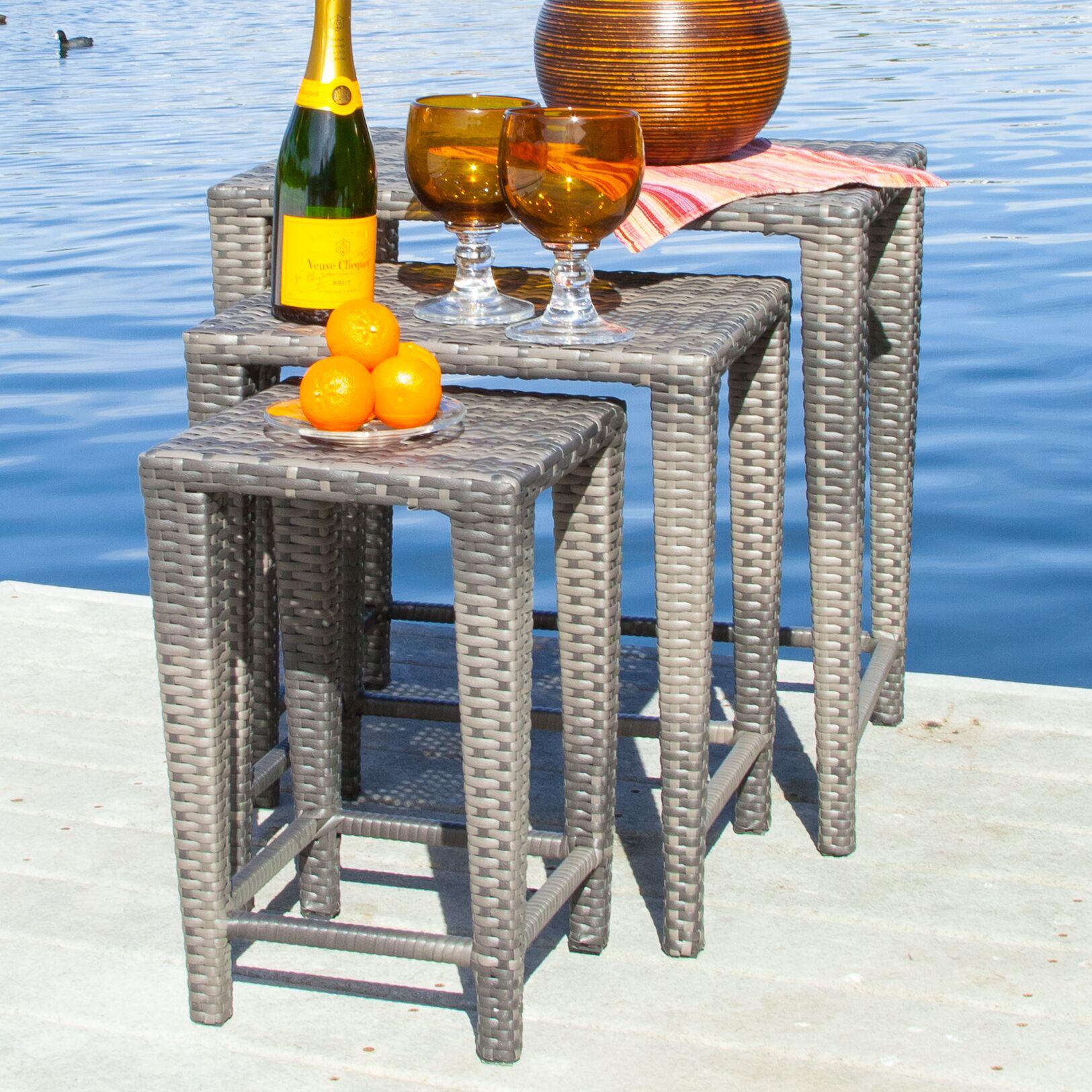 Kinslow 3 Piece Wicker Nesting Table Set Finish: Grey