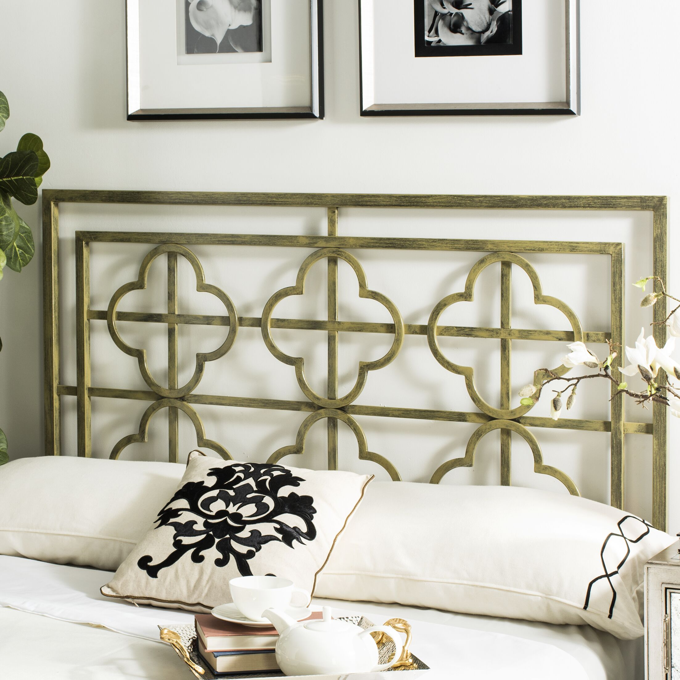 Dimatteo Open-Frame Headboard Size: King, Color: French Silver