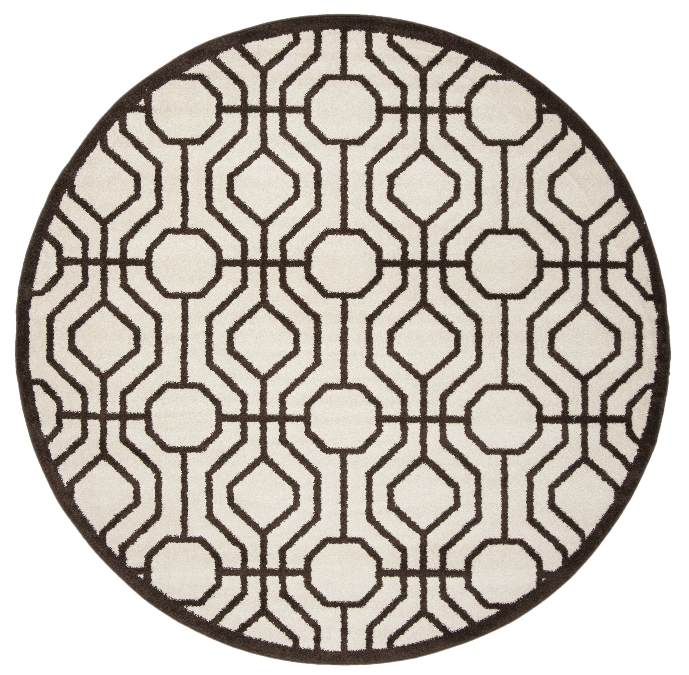 Camille Ivory/Brown Outdoor Area Rug Rug Size: Round 7'