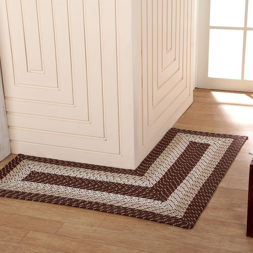 Country Hand-Braided Brown Area Rug Rug Size: 4' x 4'