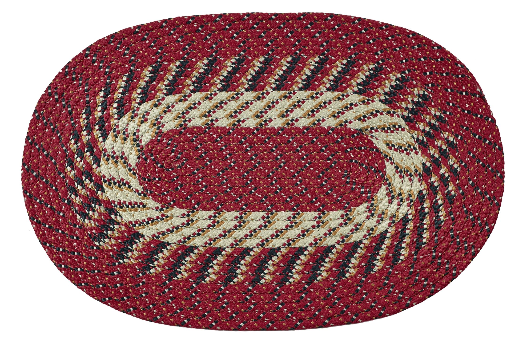 Braided Stripe Barn Red/Tan Area Rug Rug Size: Rectangle 5'4