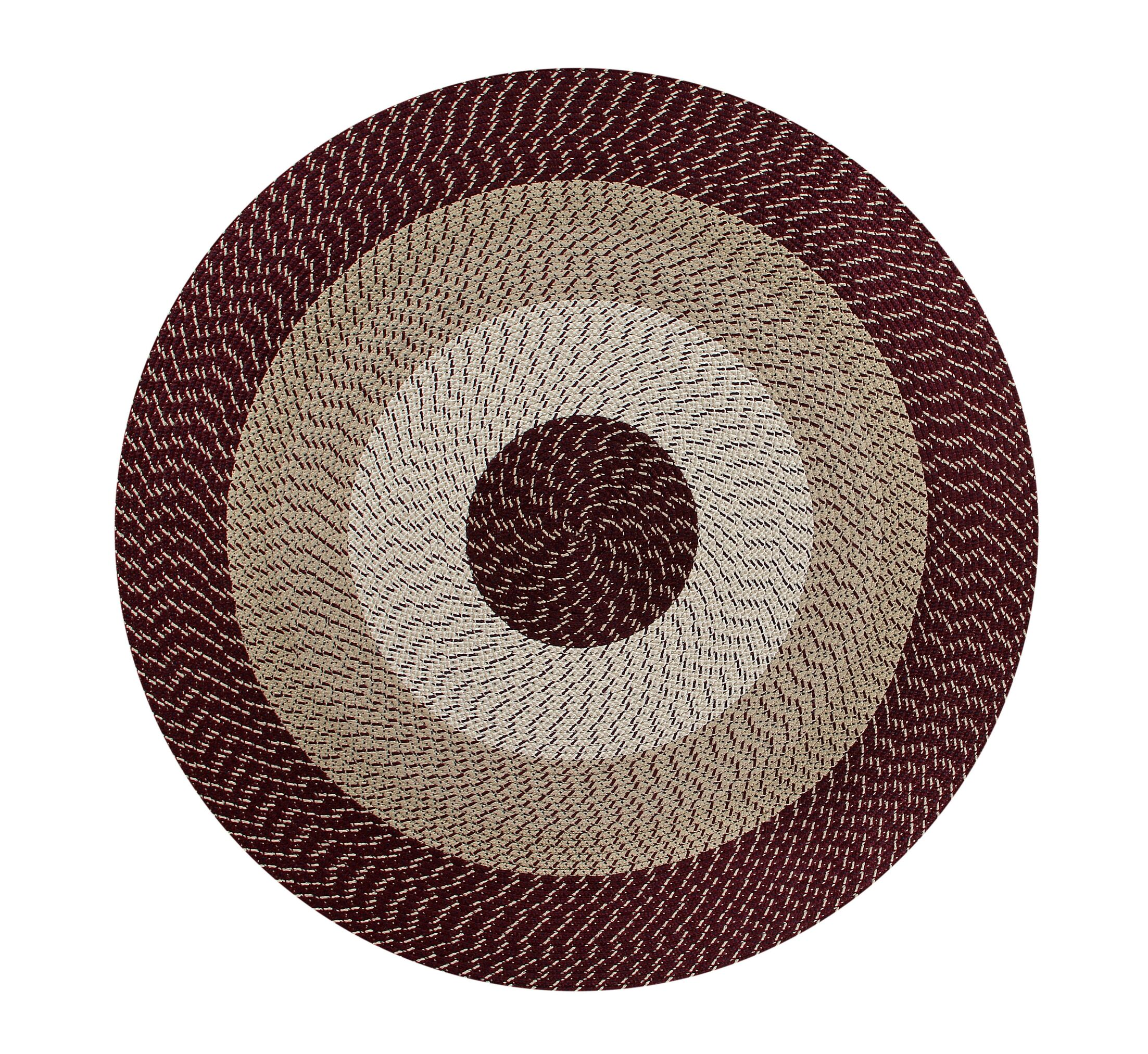 Braided Stripe Brown/Taupe Area Rug Rug Size: Round 6'