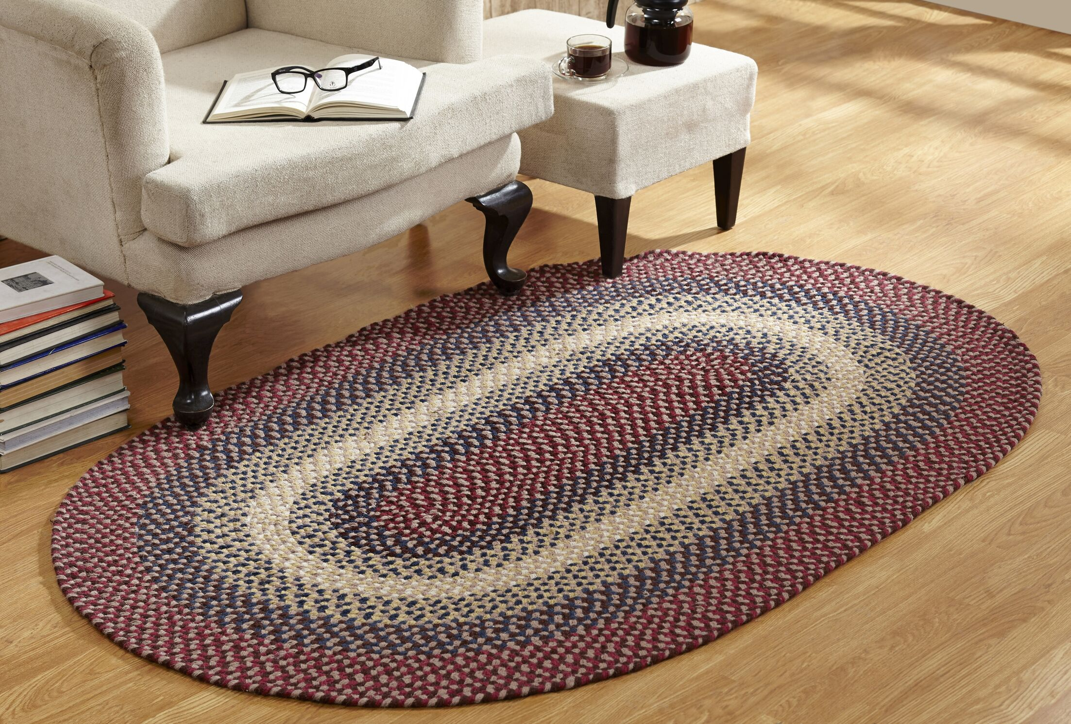 Monnie Braided Cranberry Area Rug Rug Size: Rectangle 7'4