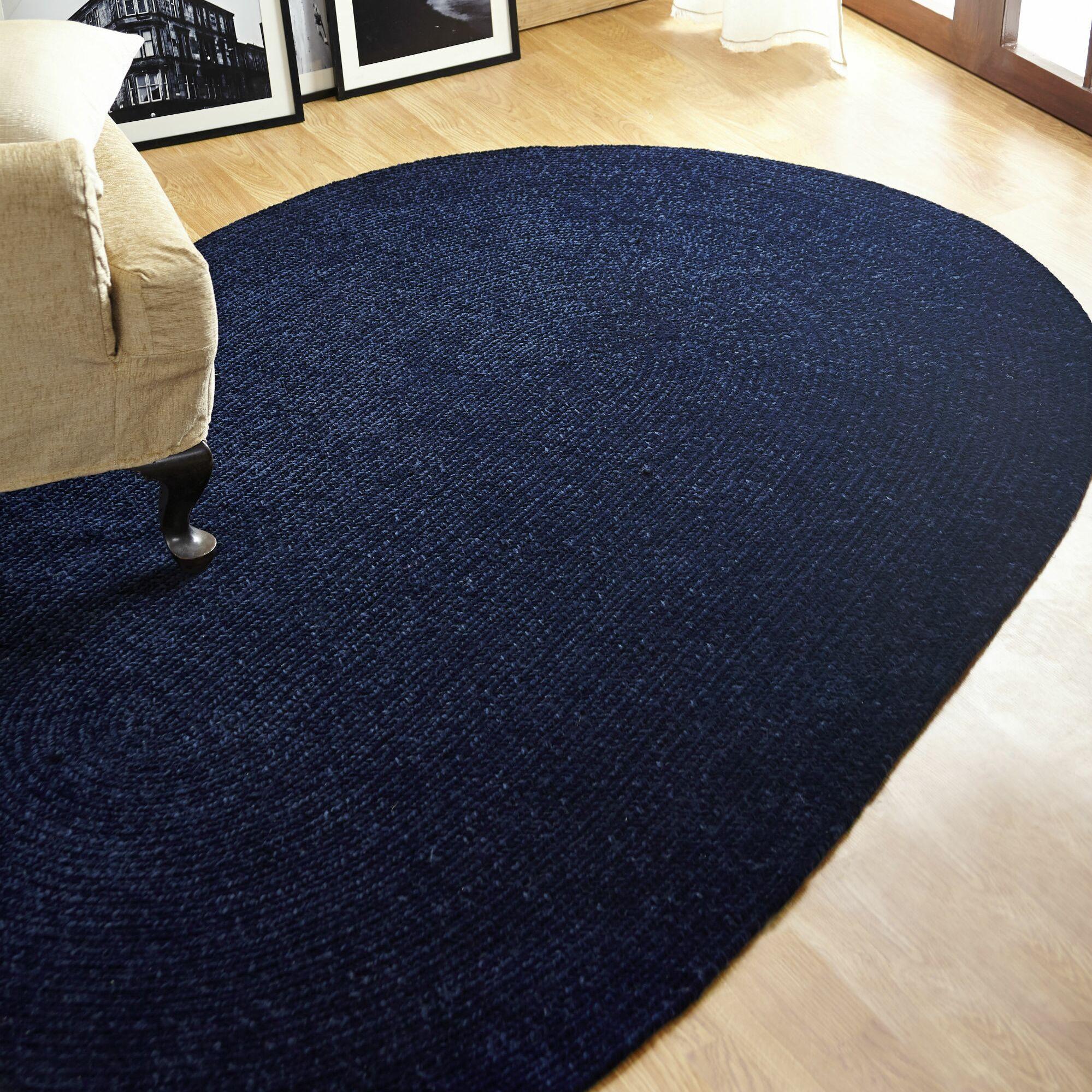 Chenille Reversible Dark Blue Indoor/Outdoor Area Rug Rug Size: Oval 2' x 9'