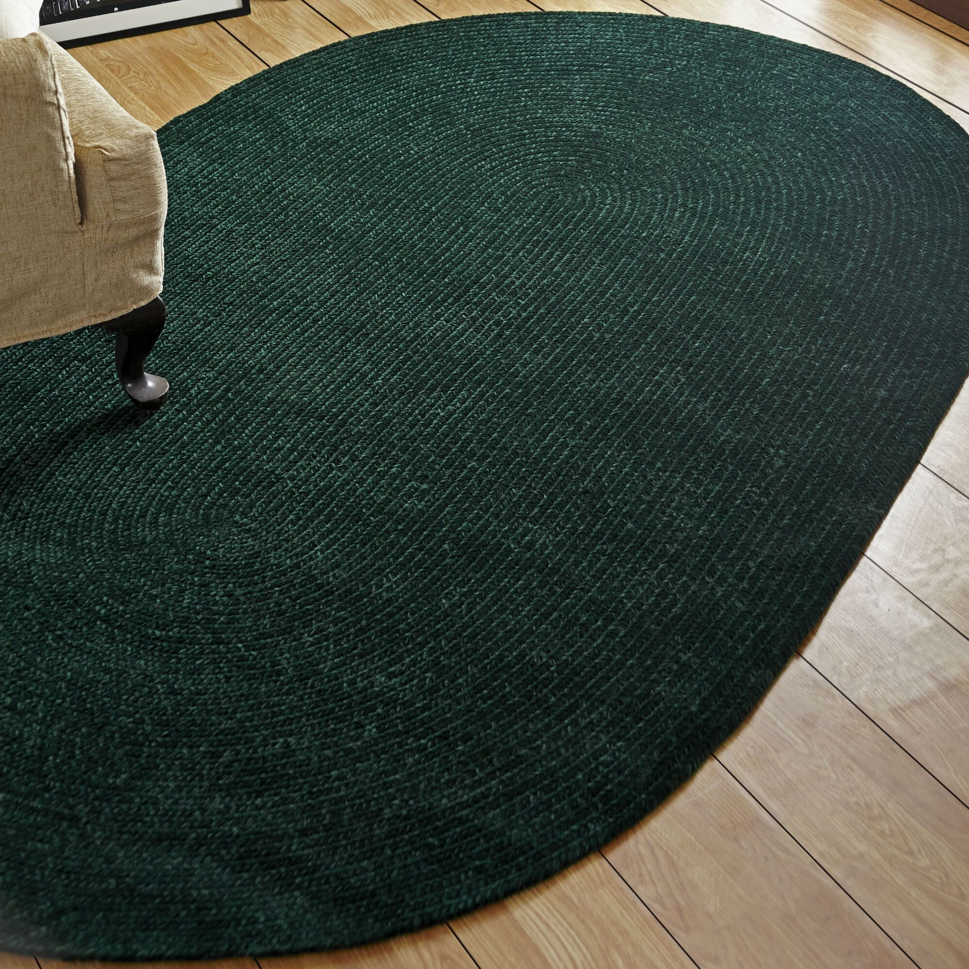 Chenille Reversible Dark Green Indoor/Outdoor Area Rug Rug Size: Oval 5' x 8'
