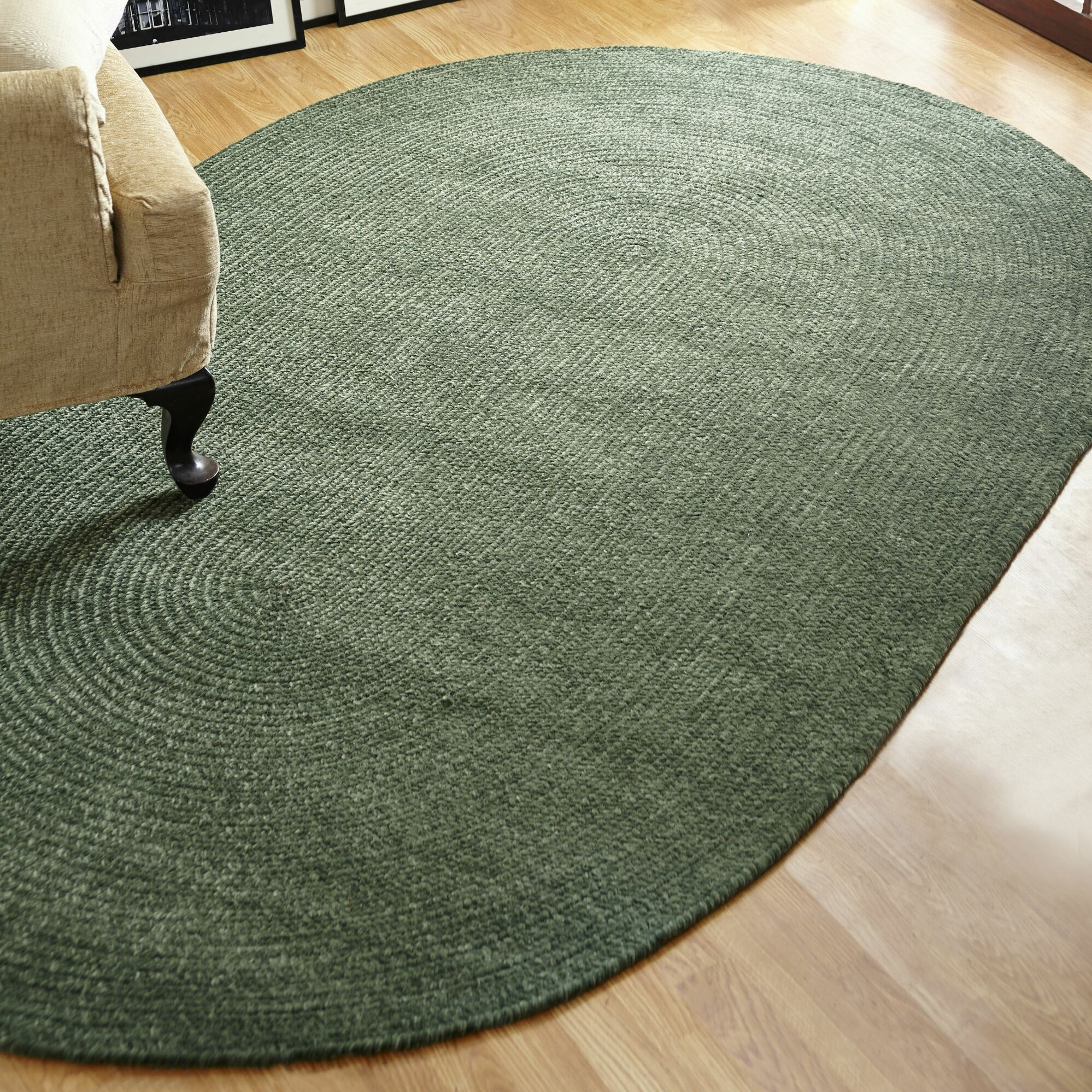 Chenille Reversible Green Indoor/Outdoor Area Rug Rug Size: Oval 3'6