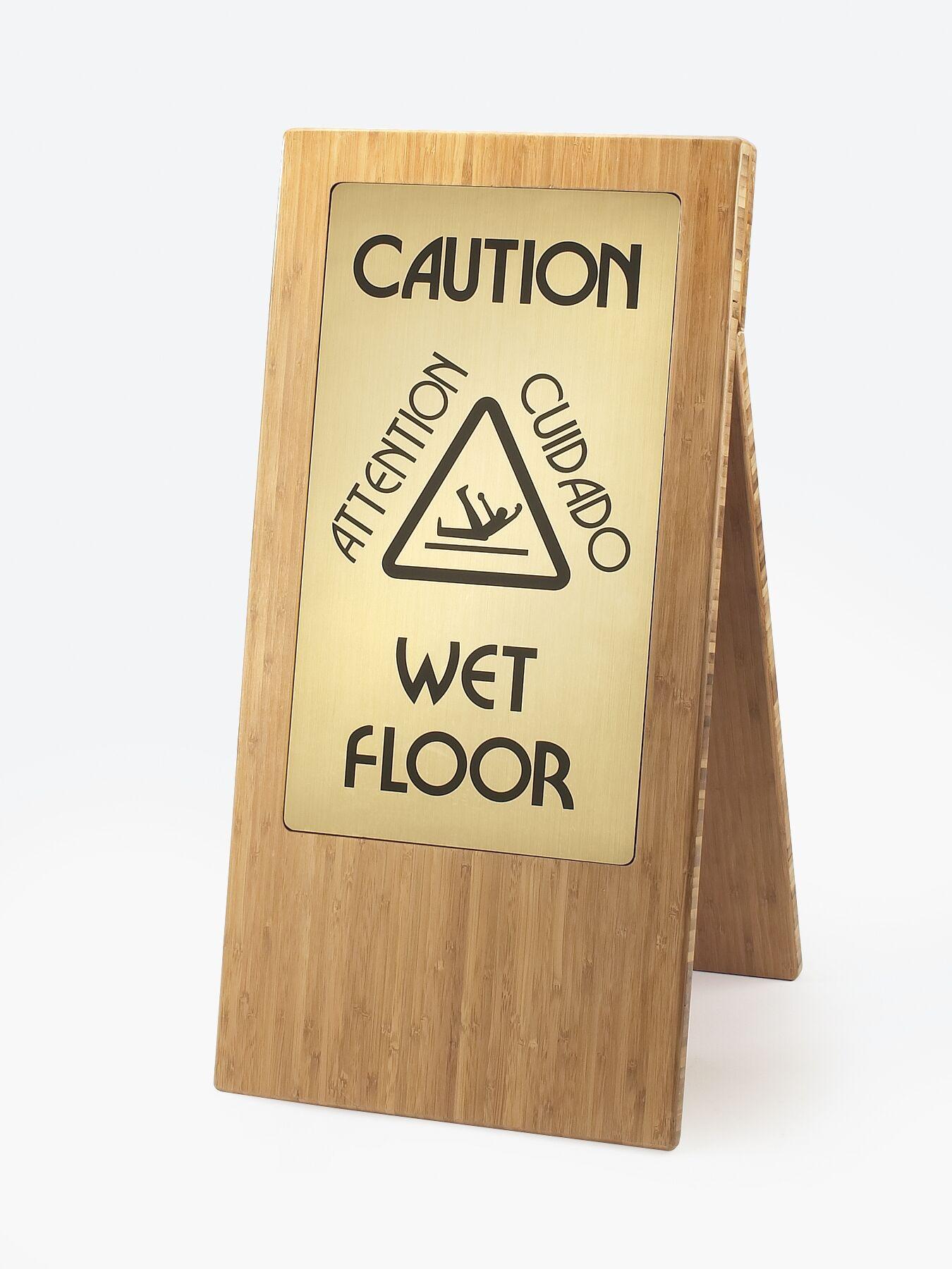 Wet Floor Sign Finish: Bamboo