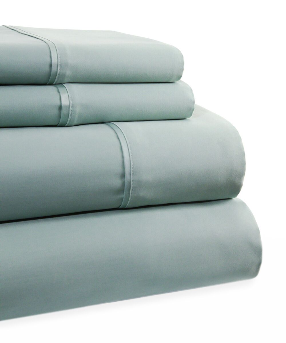 600 Thread Count 4 Piece Sheet Set Color: Blue, Size: Queen