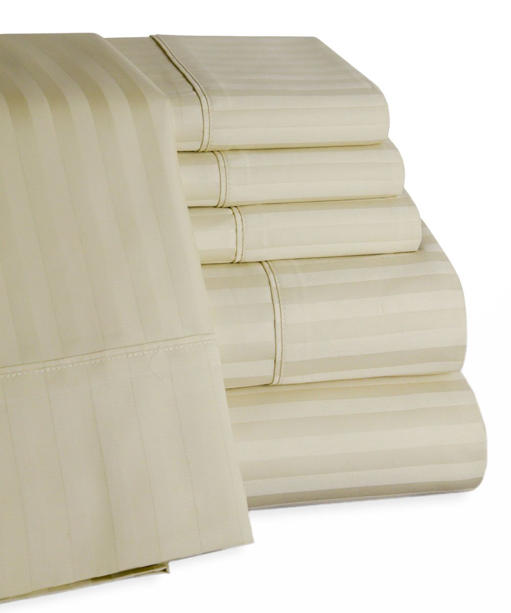 450 Thread Count 100% Egyptian Quality Cotton Sateen Sheet Set Size: King, Color: Ivory