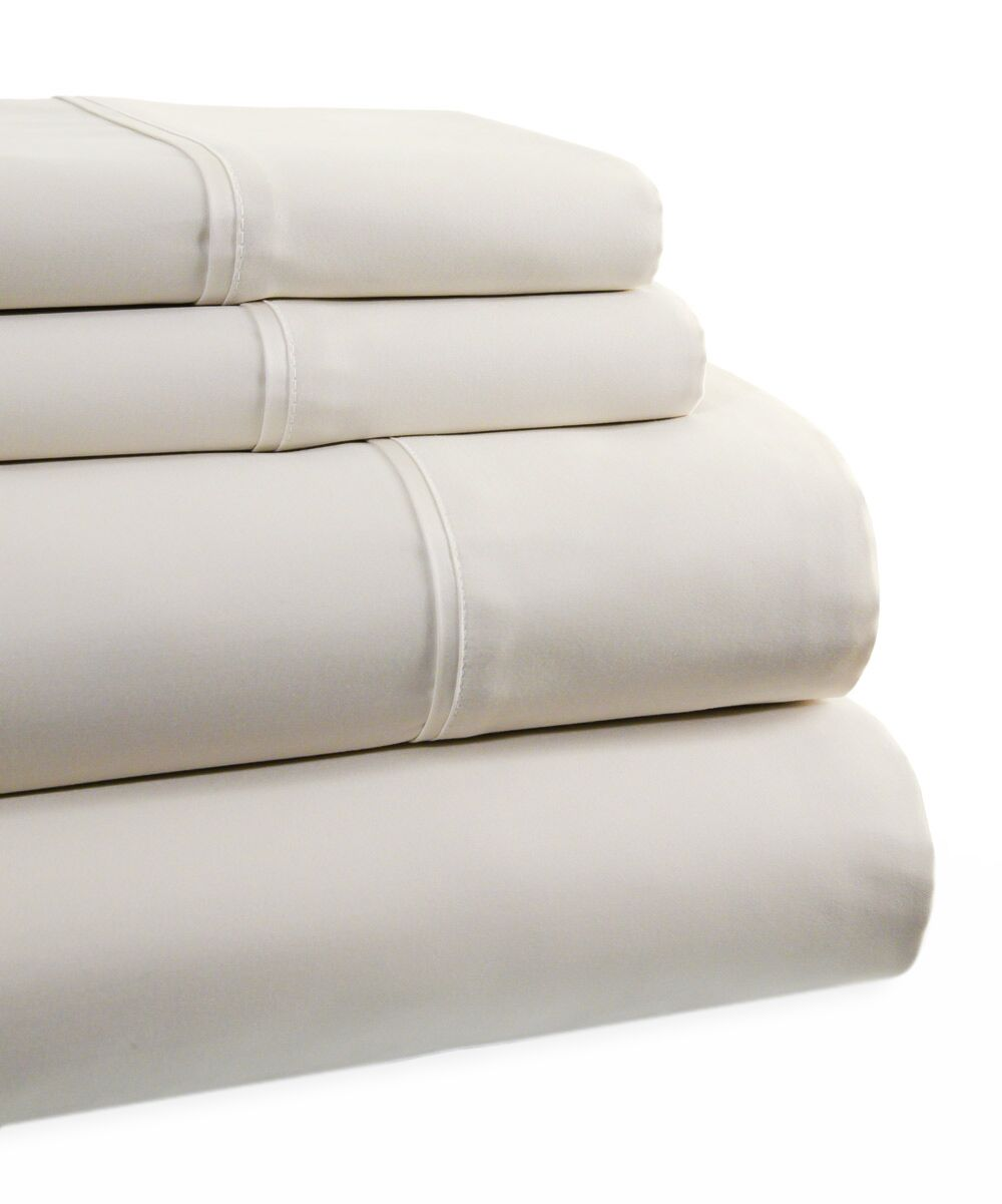 600 Thread Count 4 Piece Sheet Set Color: Pearl, Size: California King