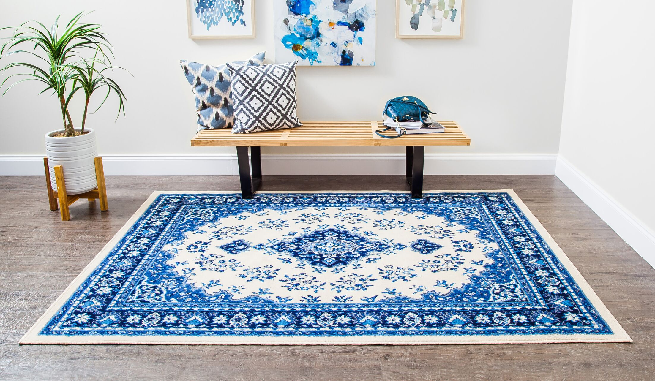 Rowes Medallion Persian Blue/Cream Area Rug Rug Size: Rectangle 8' x 10'